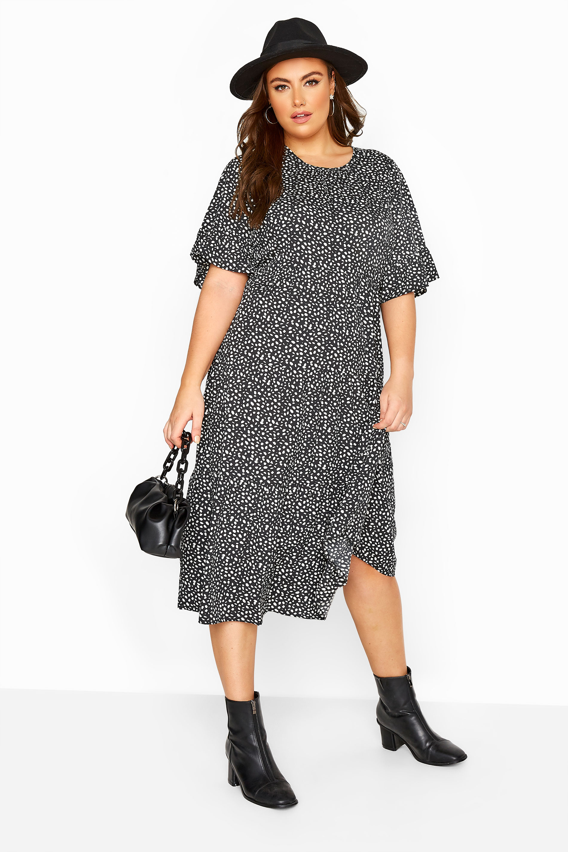 LIMITED COLLECTION Black Dalmatian Spot Tiered Midi Dress