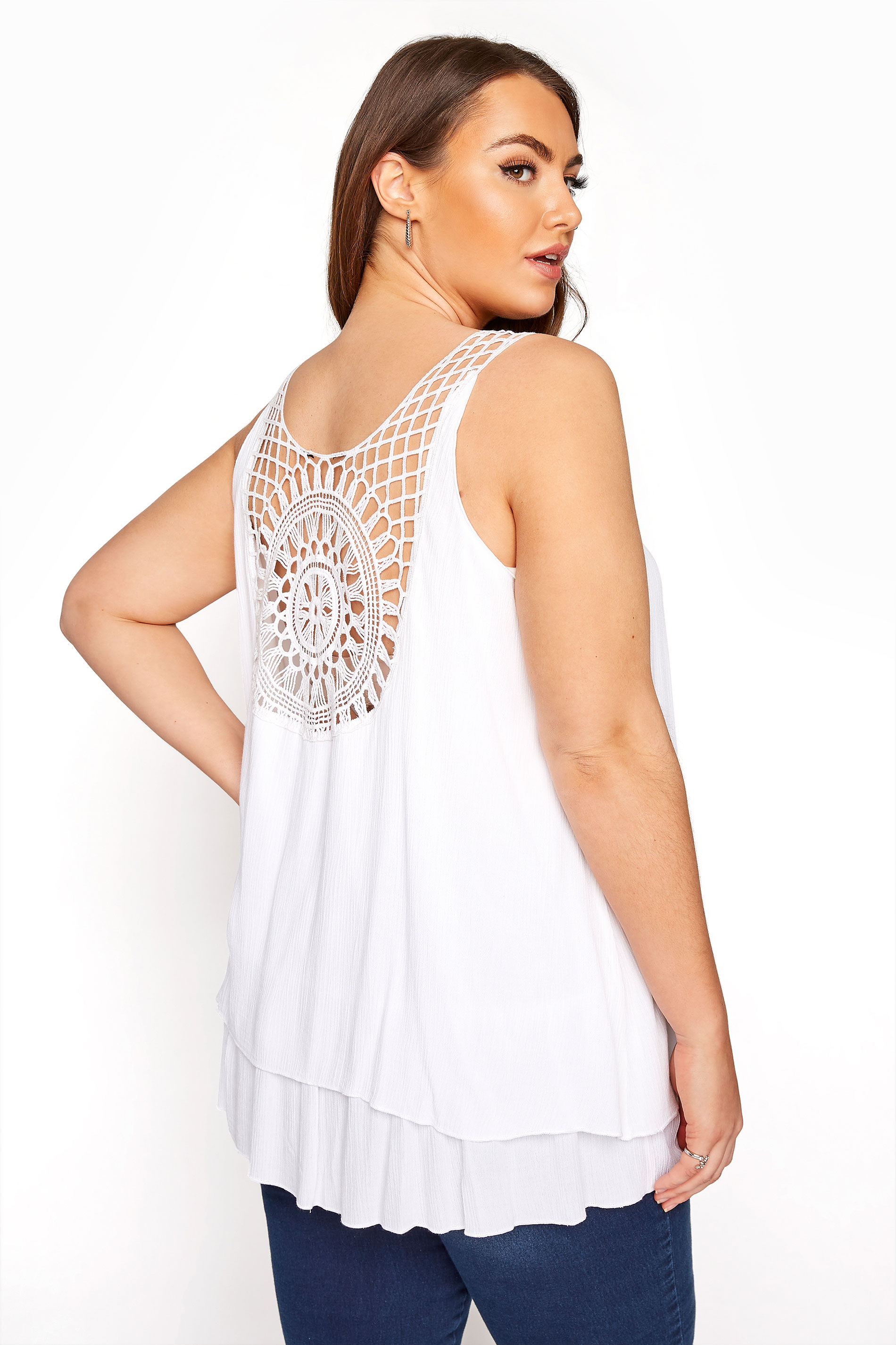 White Crochet Back Vest Top