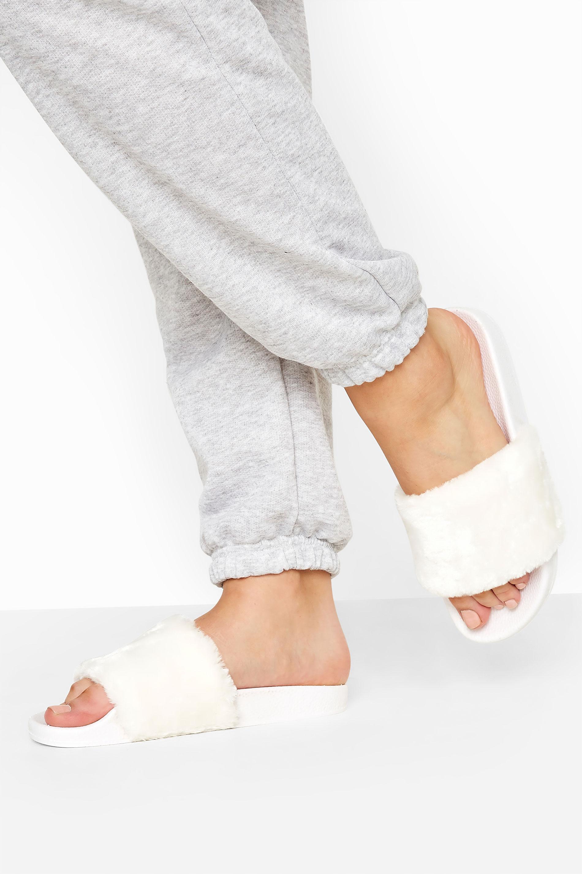 Yours White Vegan Faux Fur Sliders In Regular Fit