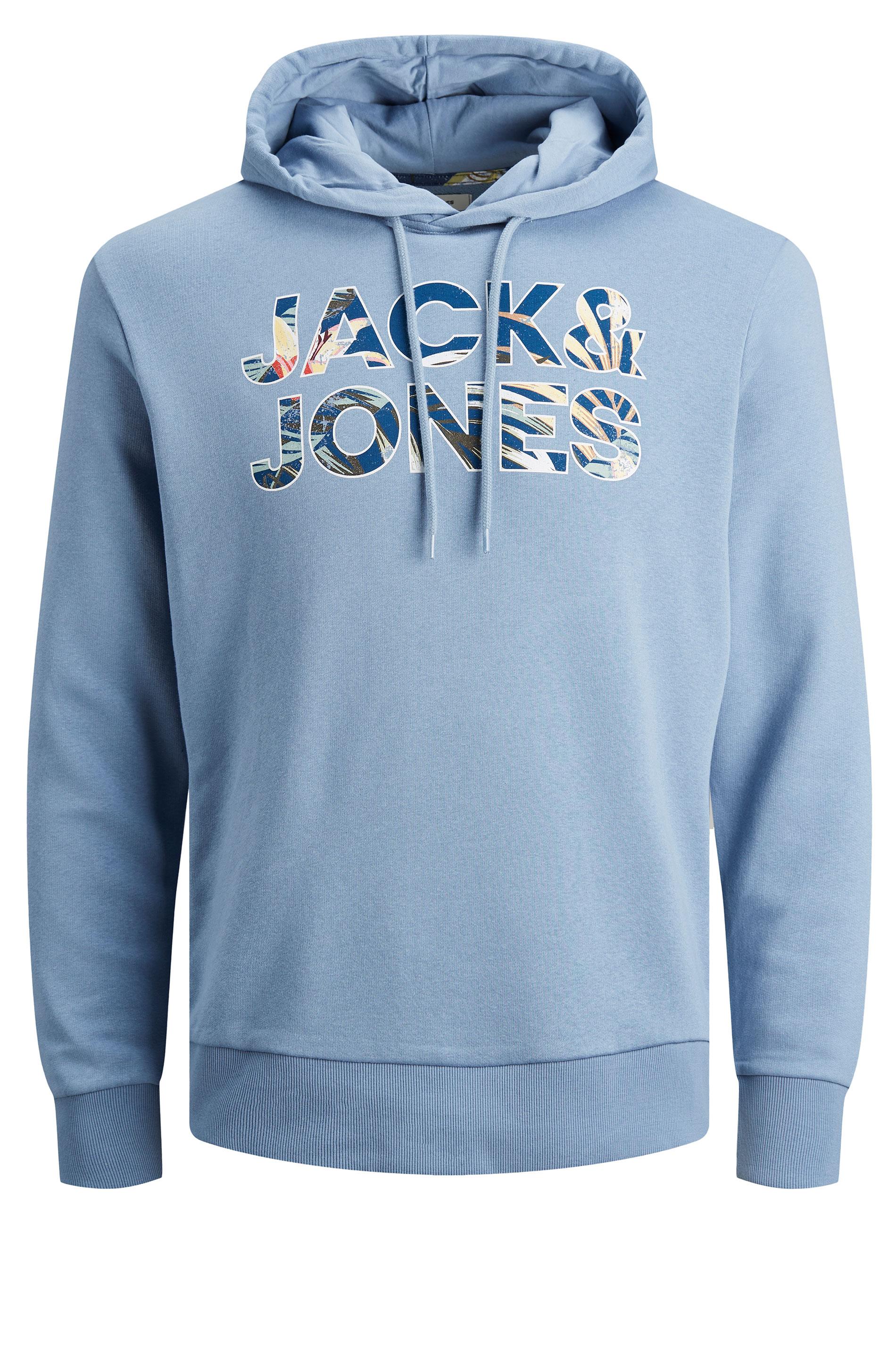 JACK & JONES Light Blue Navy Fleur Hoodie