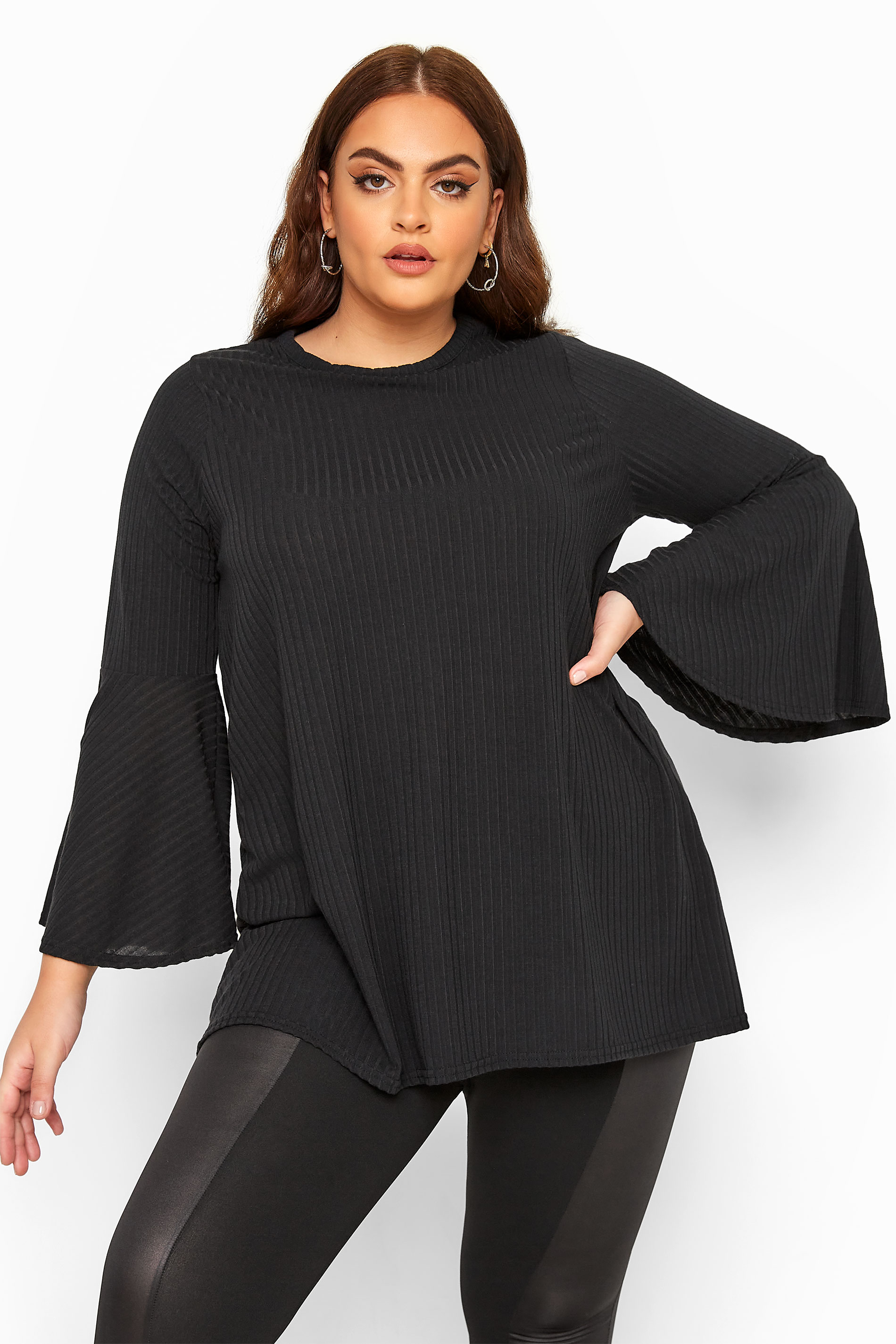 LIMITED COLLECTION Black Ribbed Flare Sleeve Top