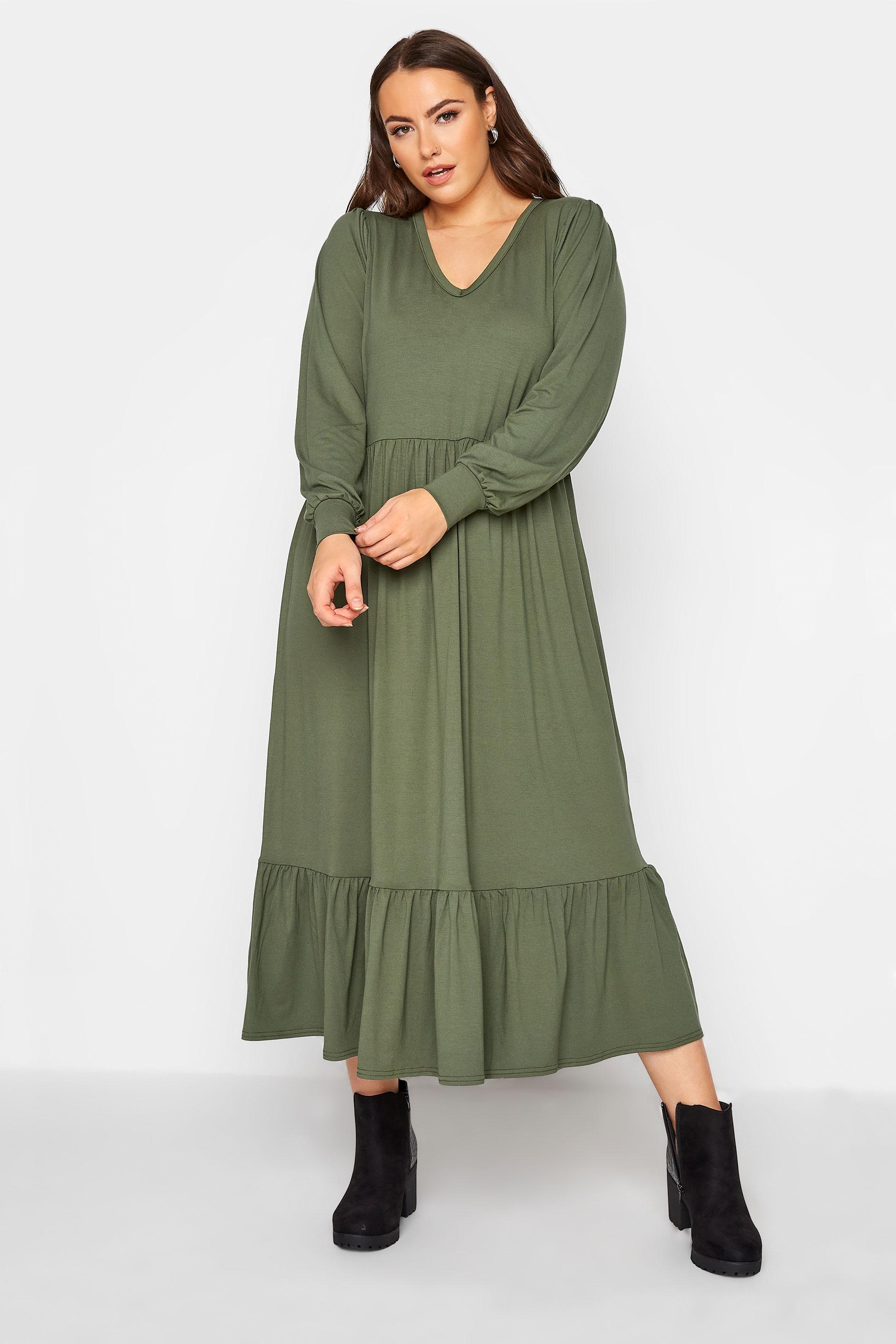LIMITED COLLECTION Khaki Smock Midi Dress_A.jpg