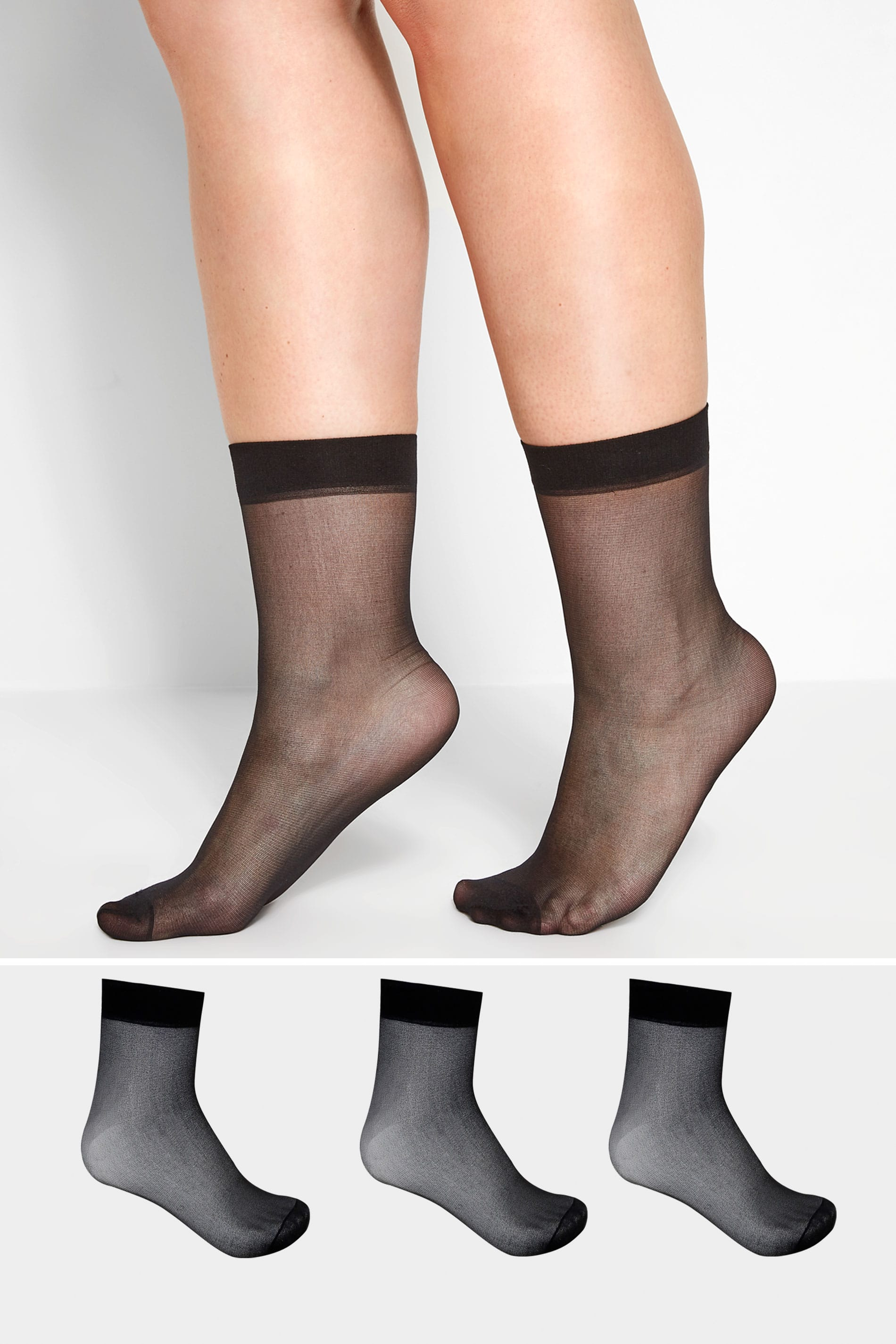 3 PACK Black Sheer Ankle Socks