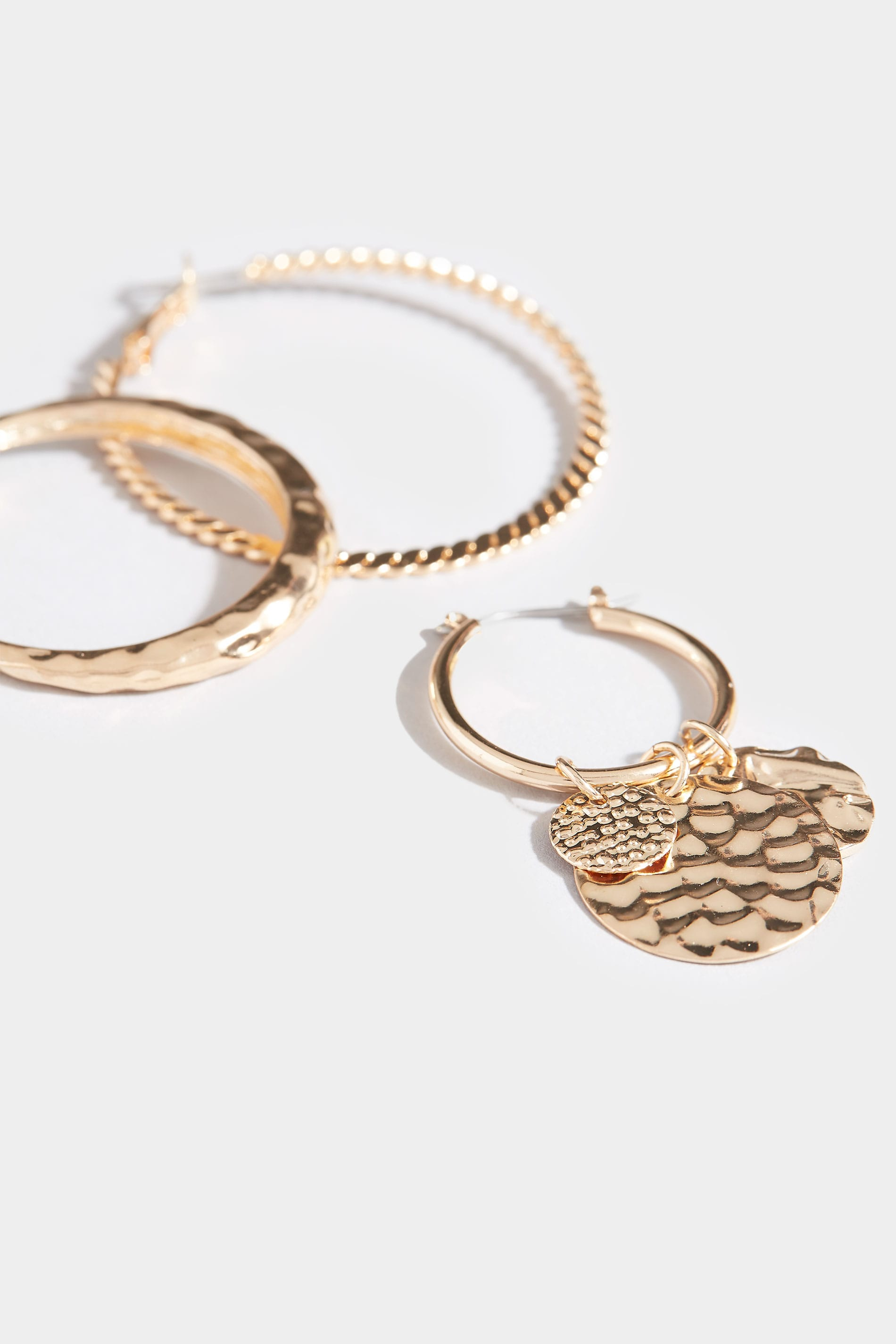 3 PACK Gold Textured Hoop Earrings Set | Yours Clothing