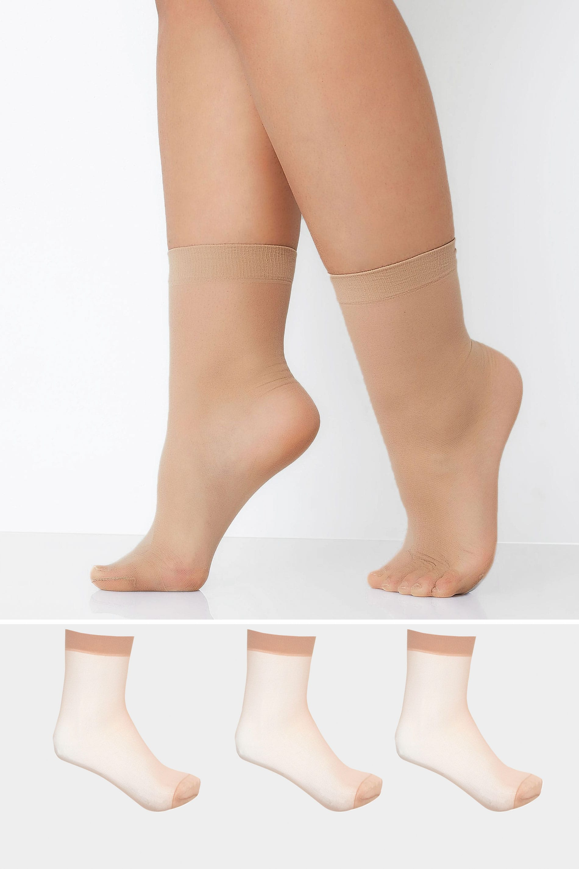 3 PACK Natural Sheer Ankle High Socks