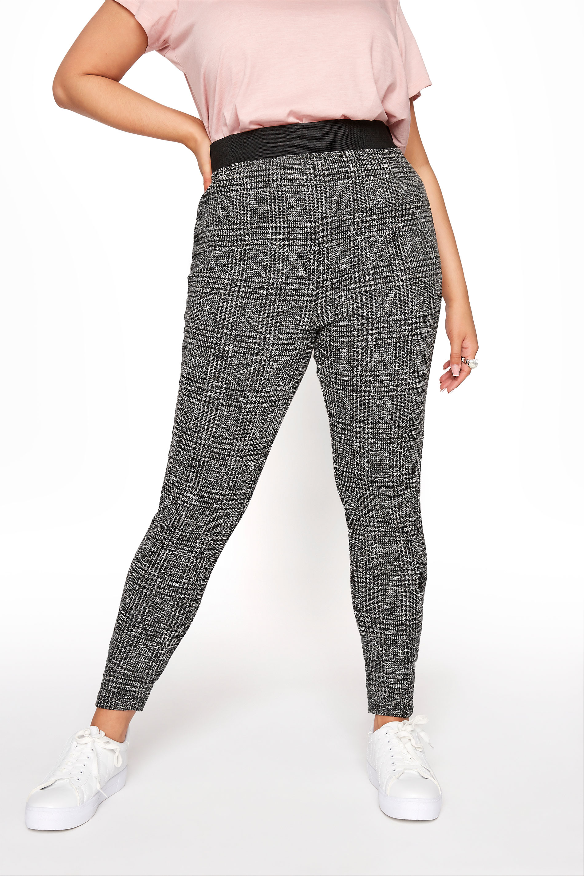 Grey Boucle Check Slim Fit Trousers_B.jpg