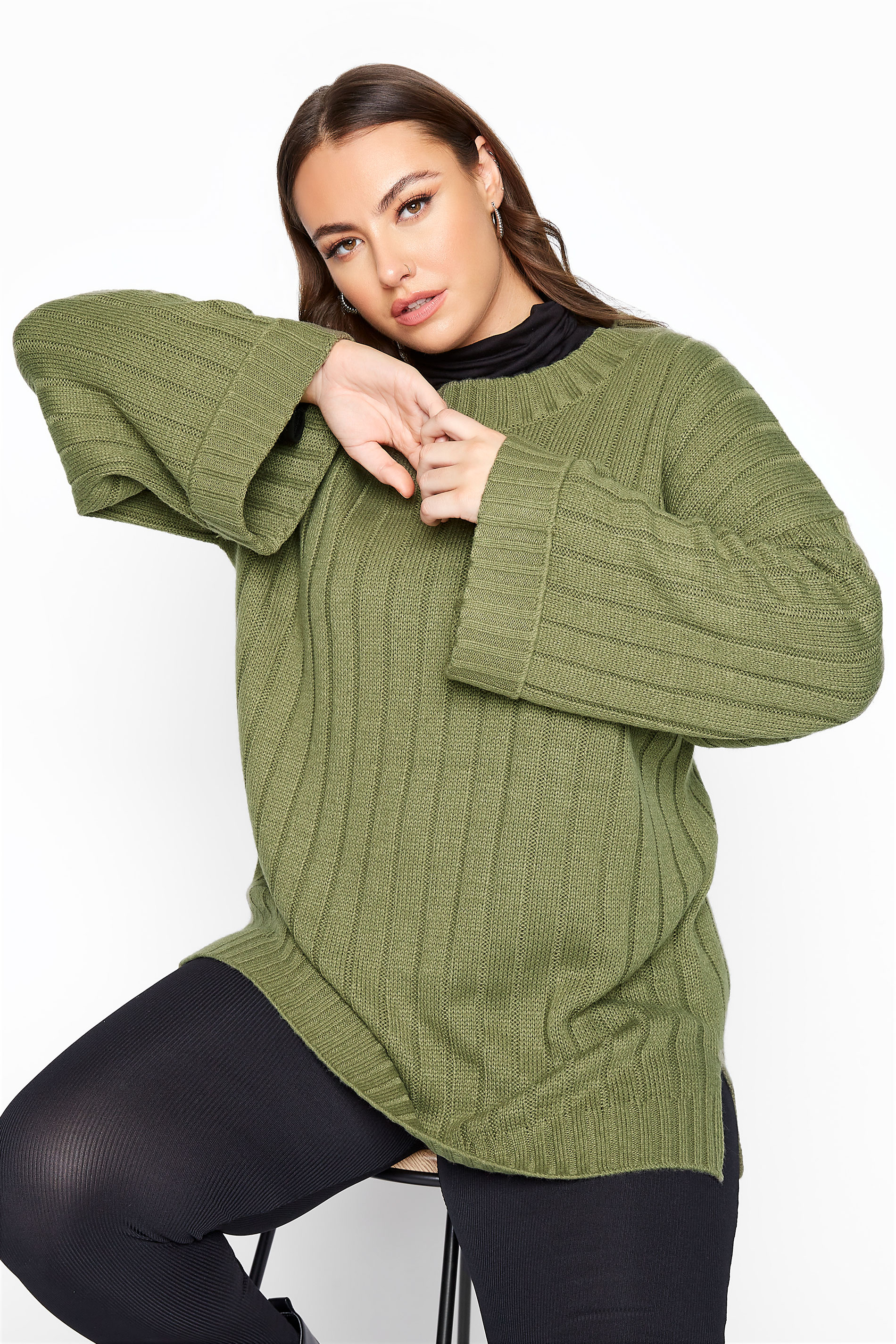 Khaki Ribbed Wide Sleeve Knitted Jumper