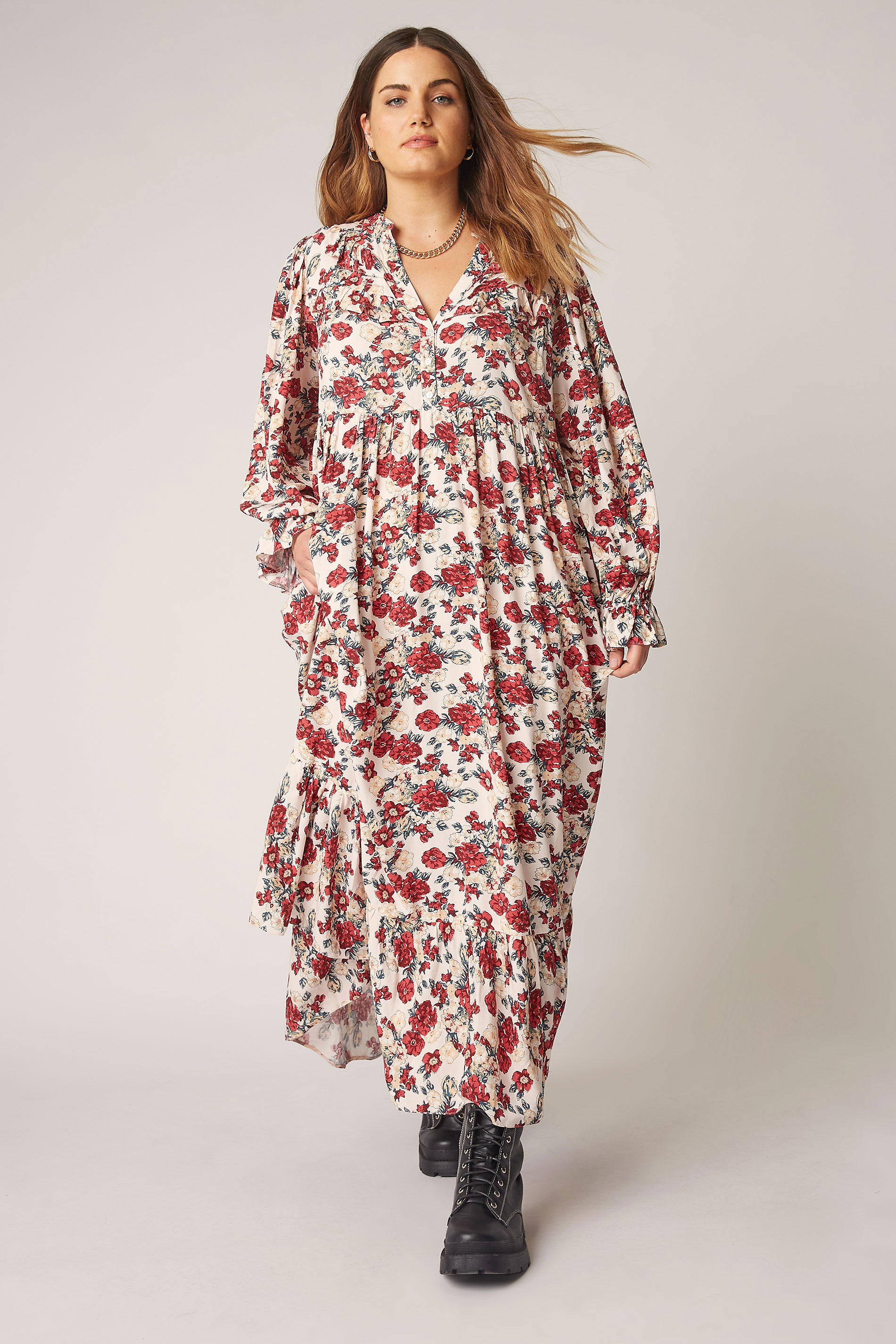 THE LIMITED EDIT Cream Floral Frill Smock Maxi Dress_A.jpg