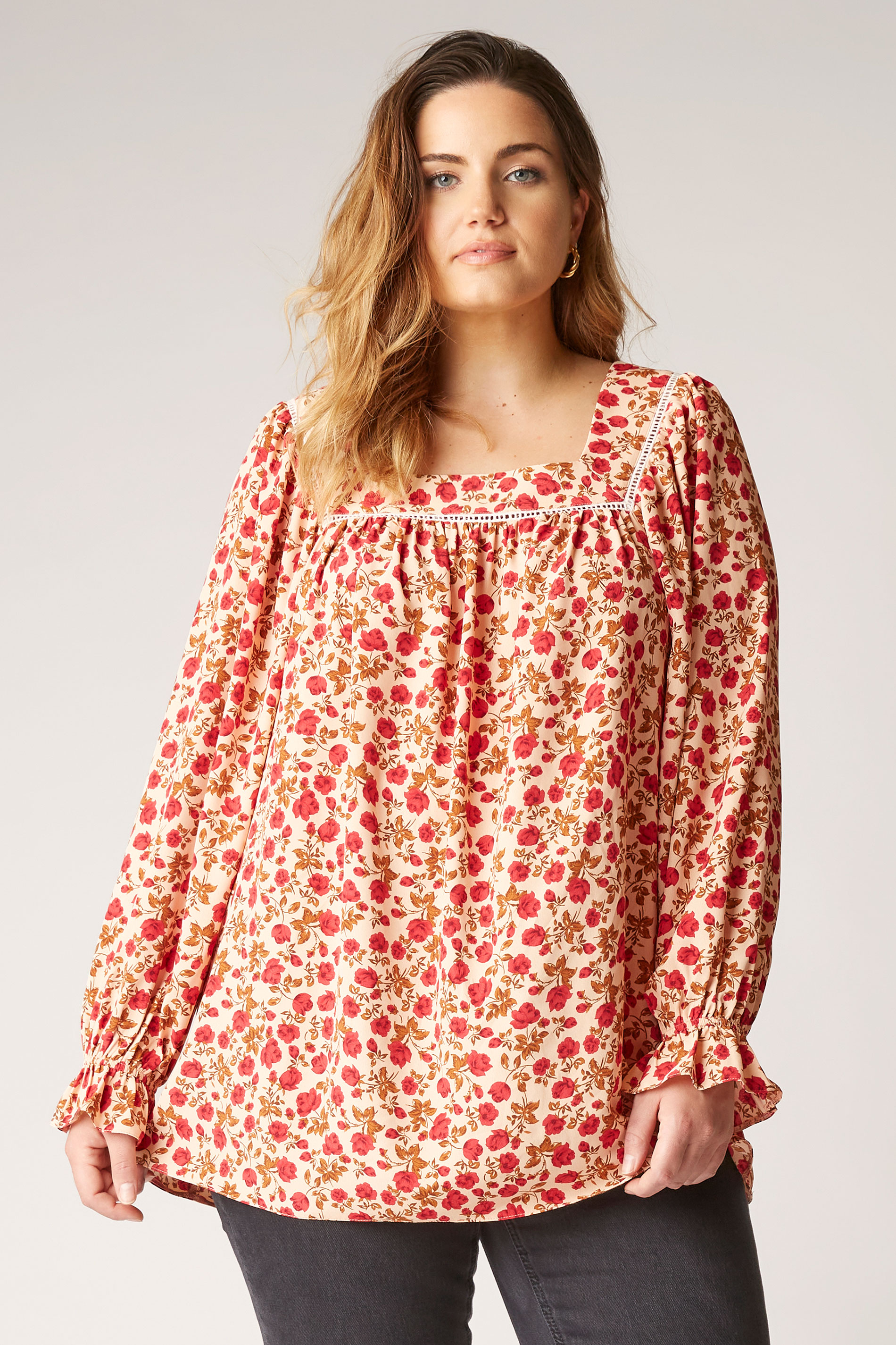 THE LIMITED EDIT Natural Square Neck Blossom Blouse_A.jpg