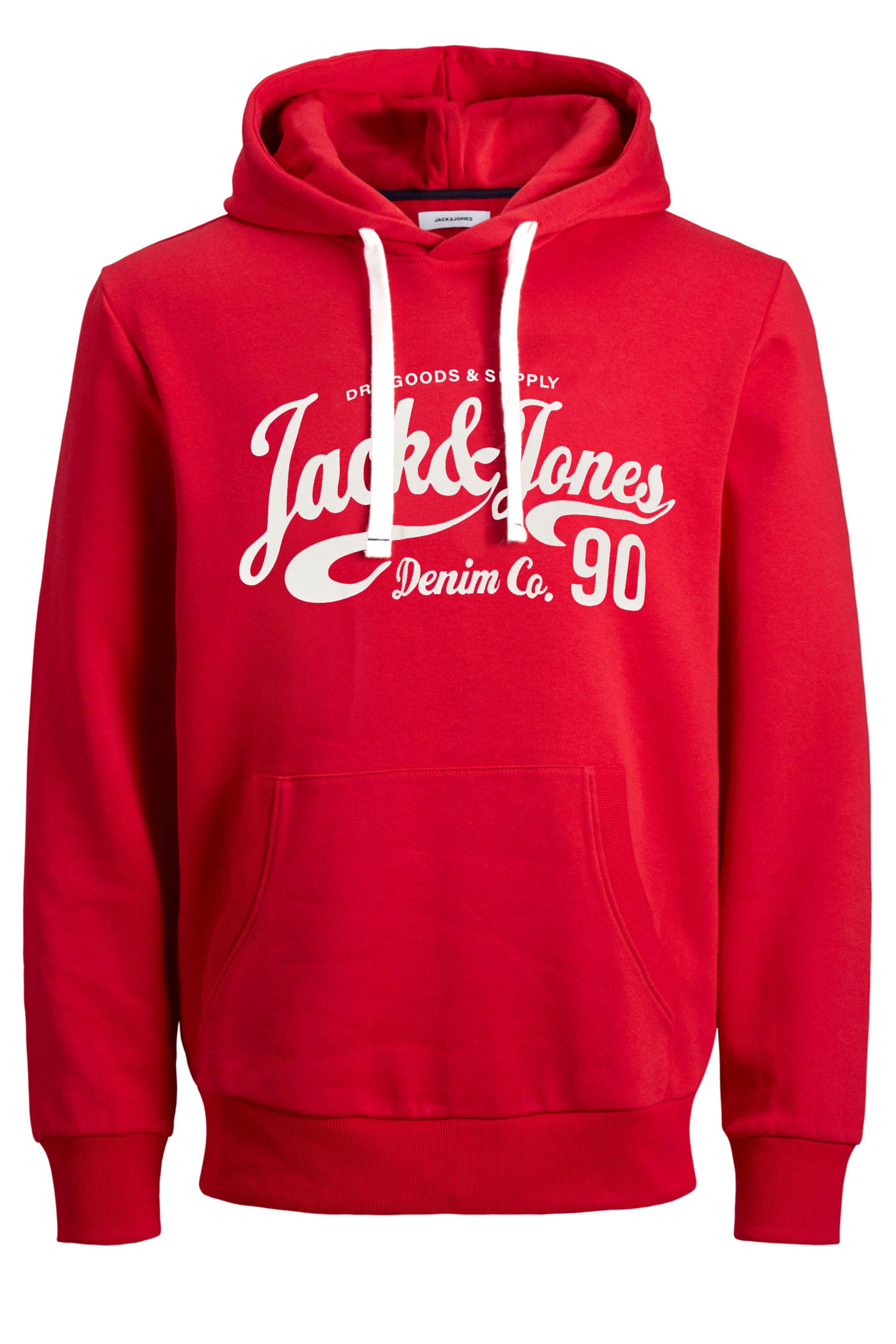 JACK & JONES Red Hero Logo Print Hoodie