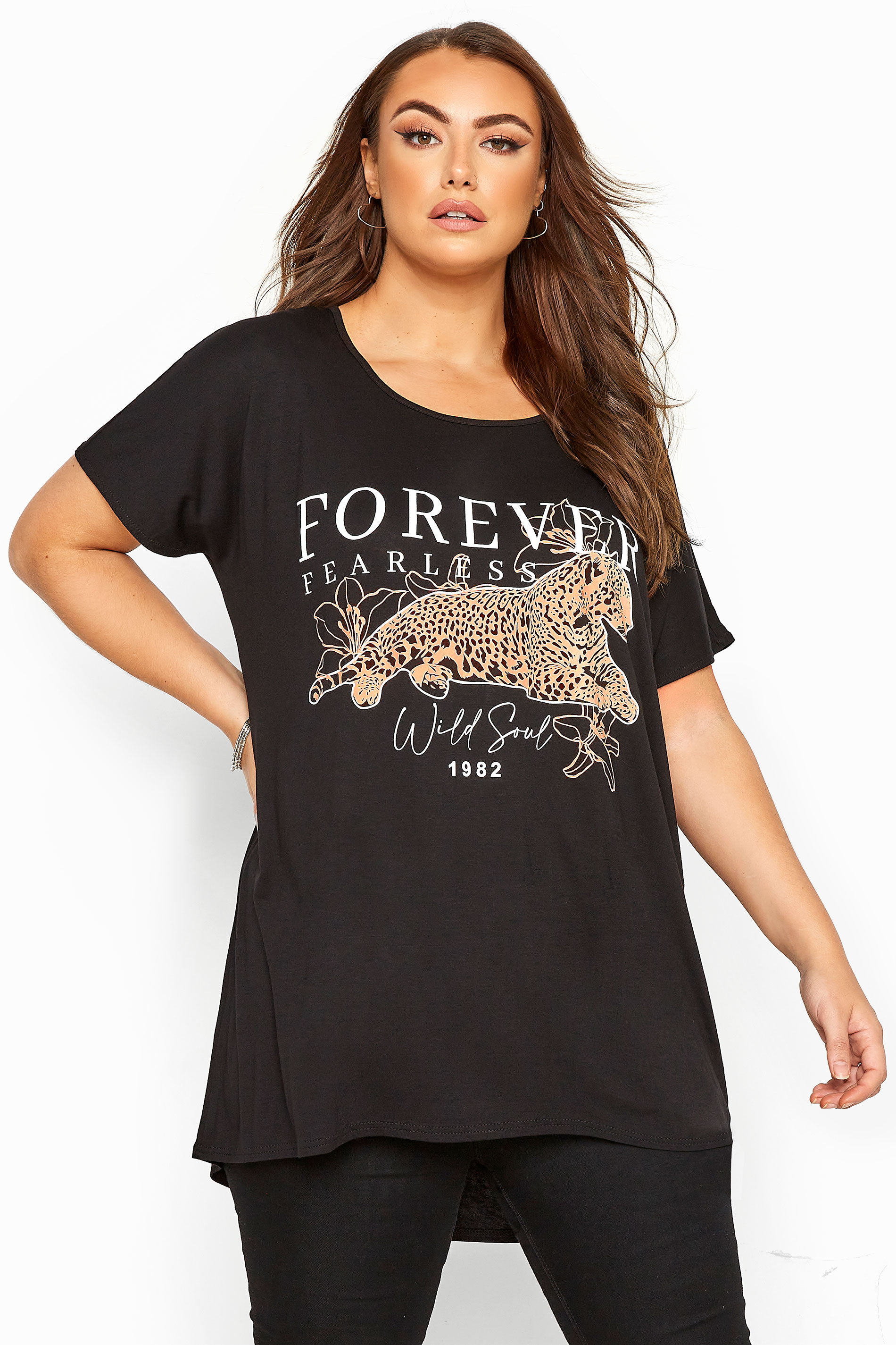 Black Leopard Print 'Forever' Slogan Top