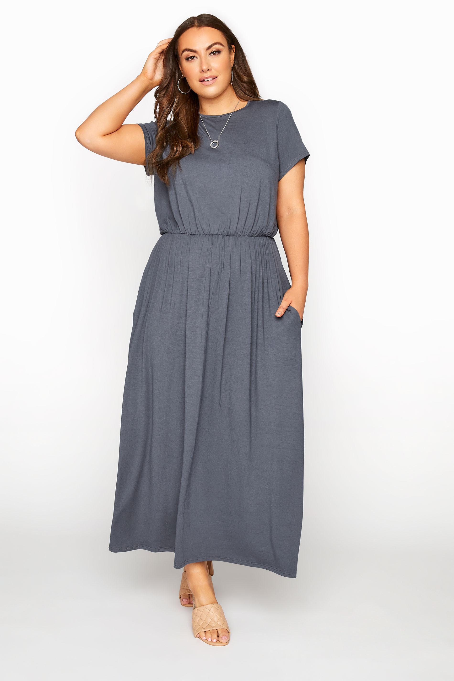 YOURS LONDON Grey Pocket Maxi Dress_A.jpg