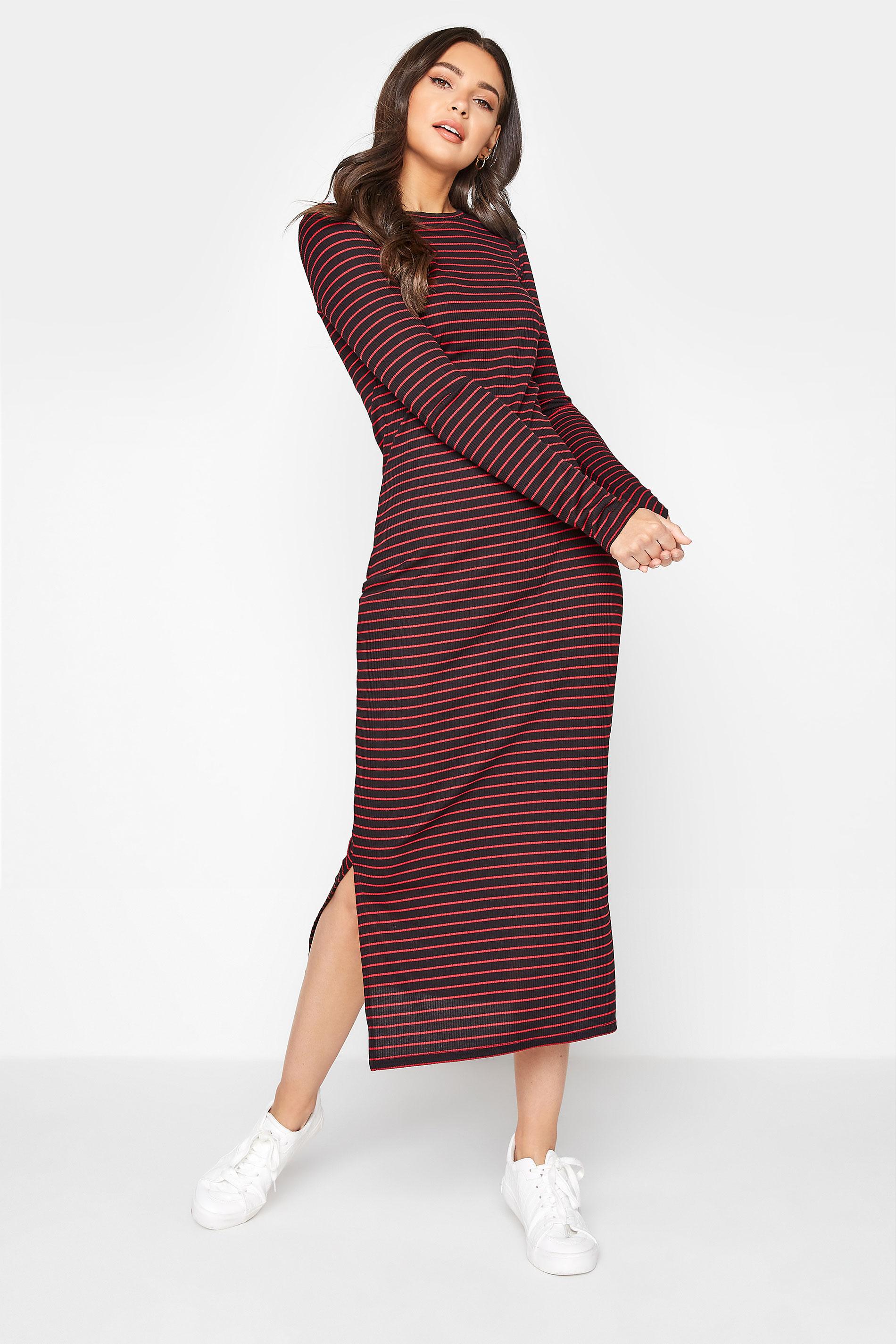 LTS Red Stripe Ribbed Midi Dress