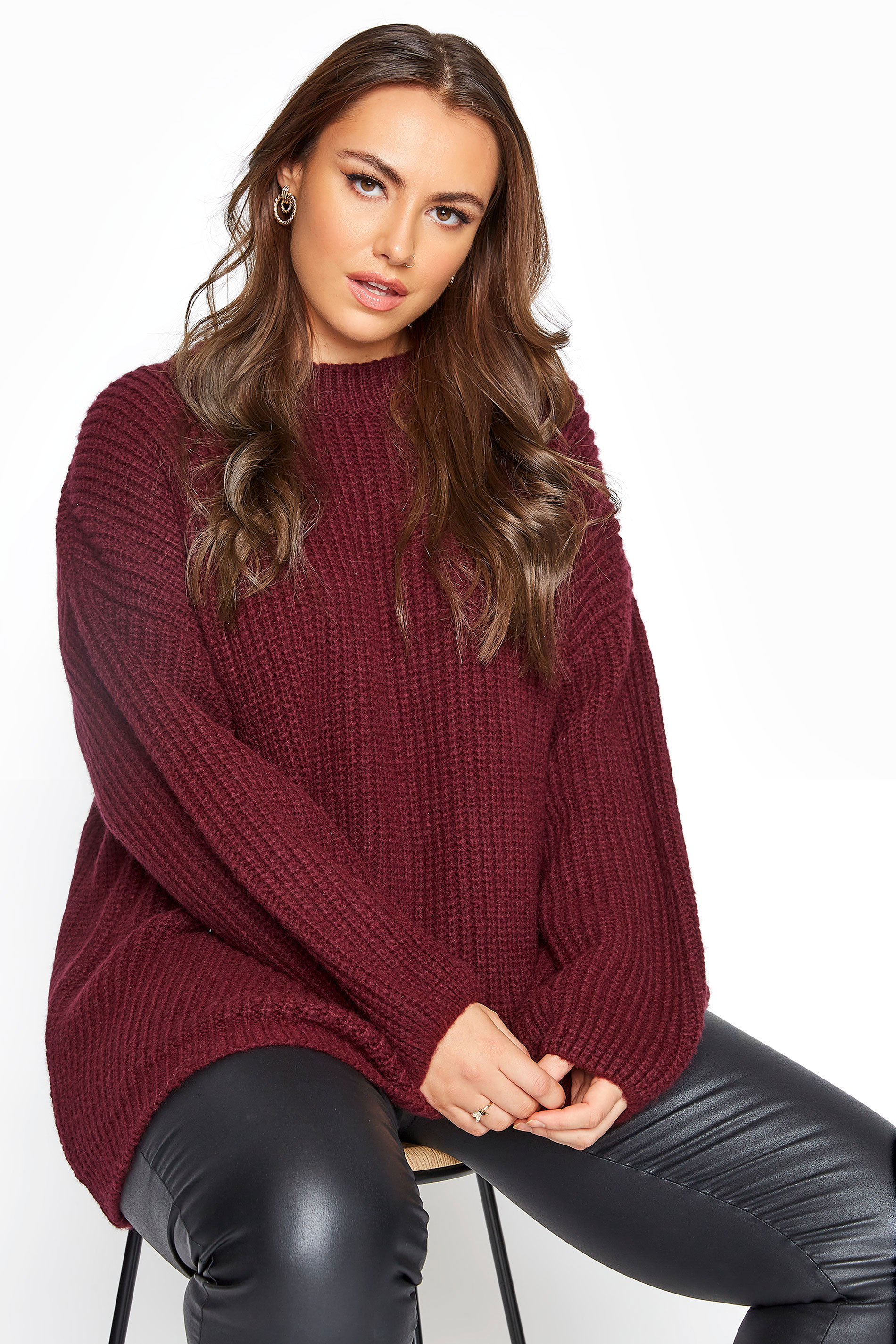 Burgundy Wide Balloon Sleeve Chunky Knitted Jumper