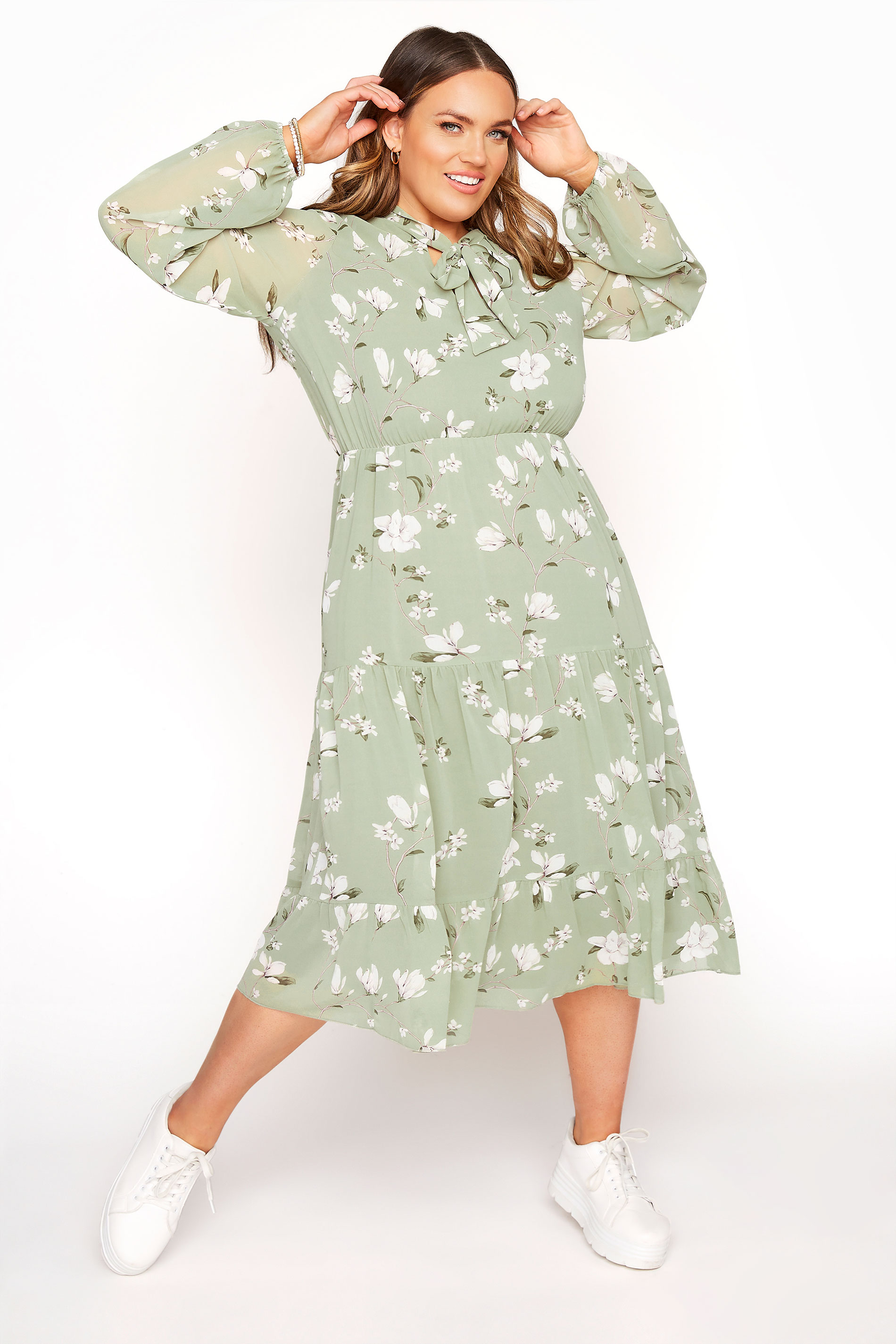 YOURS LONDON Sage Green Floral Bow Smock Dress