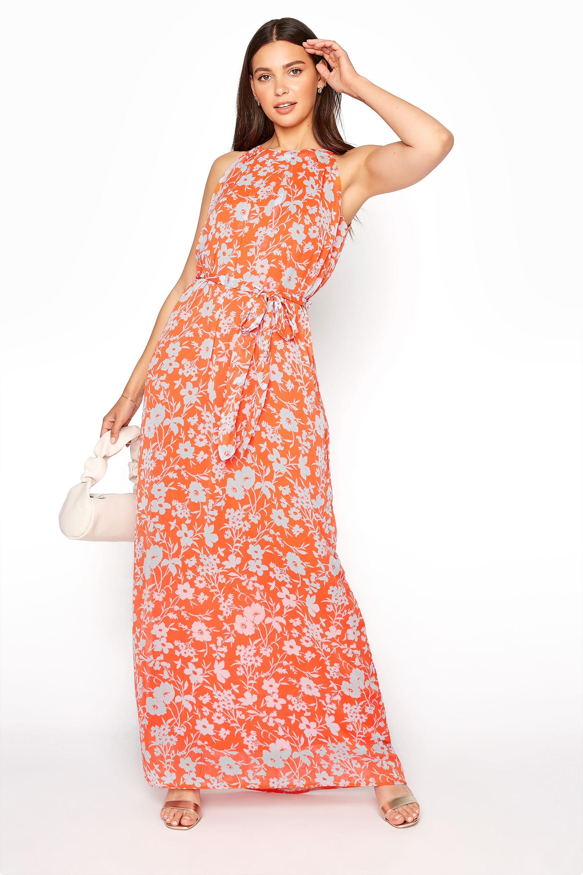 LTS Orange Floral Halter Neck Maxi Dress
