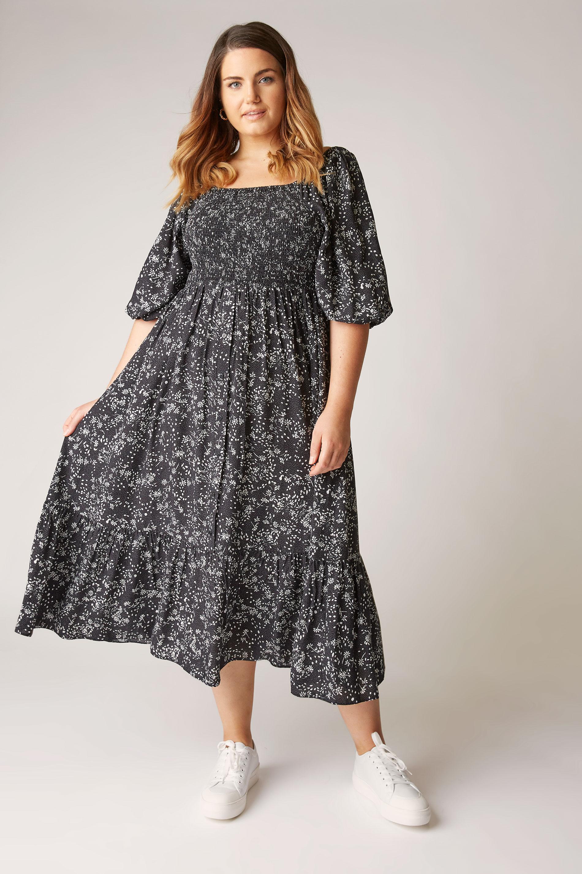 THE LIMITED EDIT Black Ditsy Print Shirred Midaxi Dress