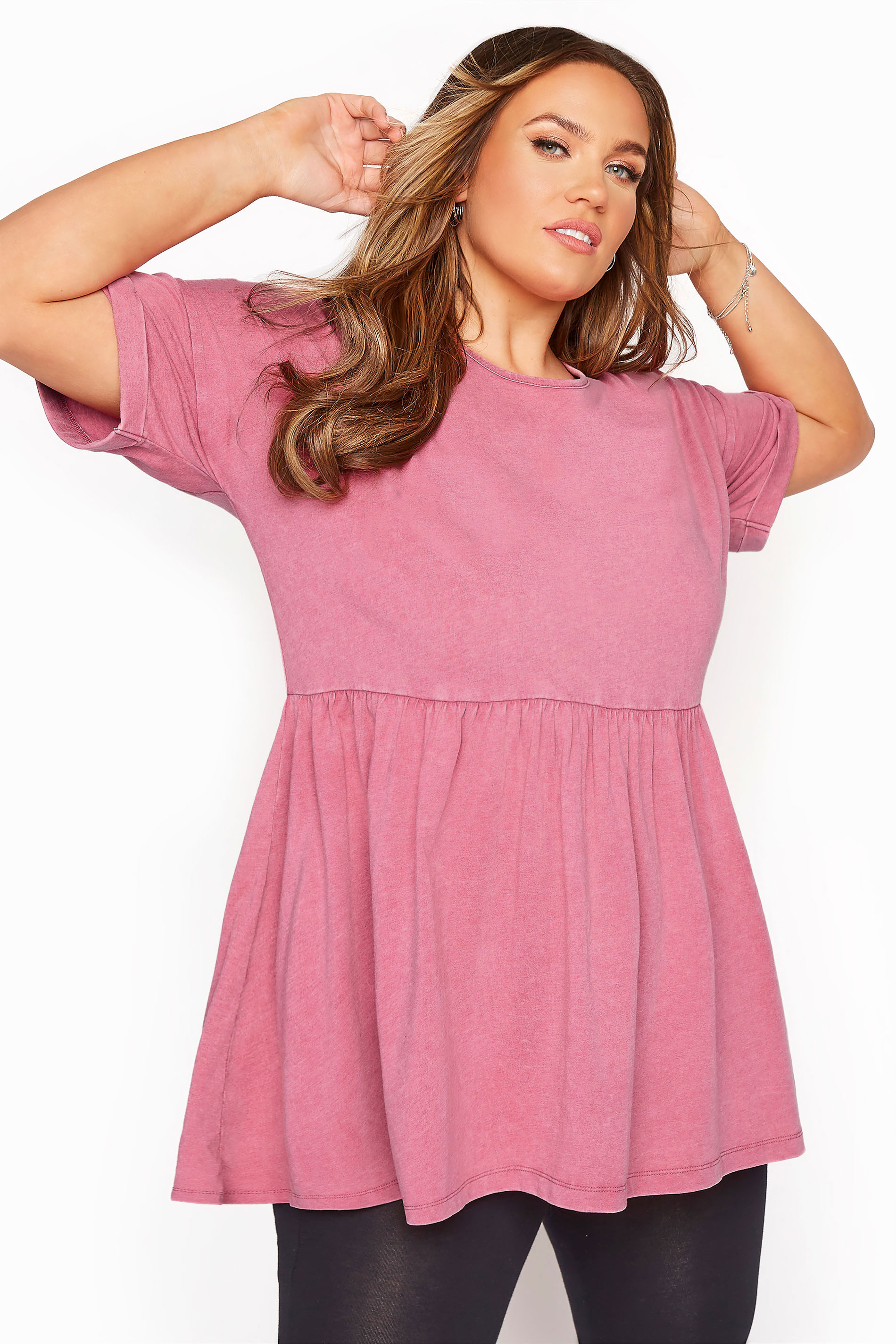 Pink Acid Wash Drop Shoulder Peplum Tunic