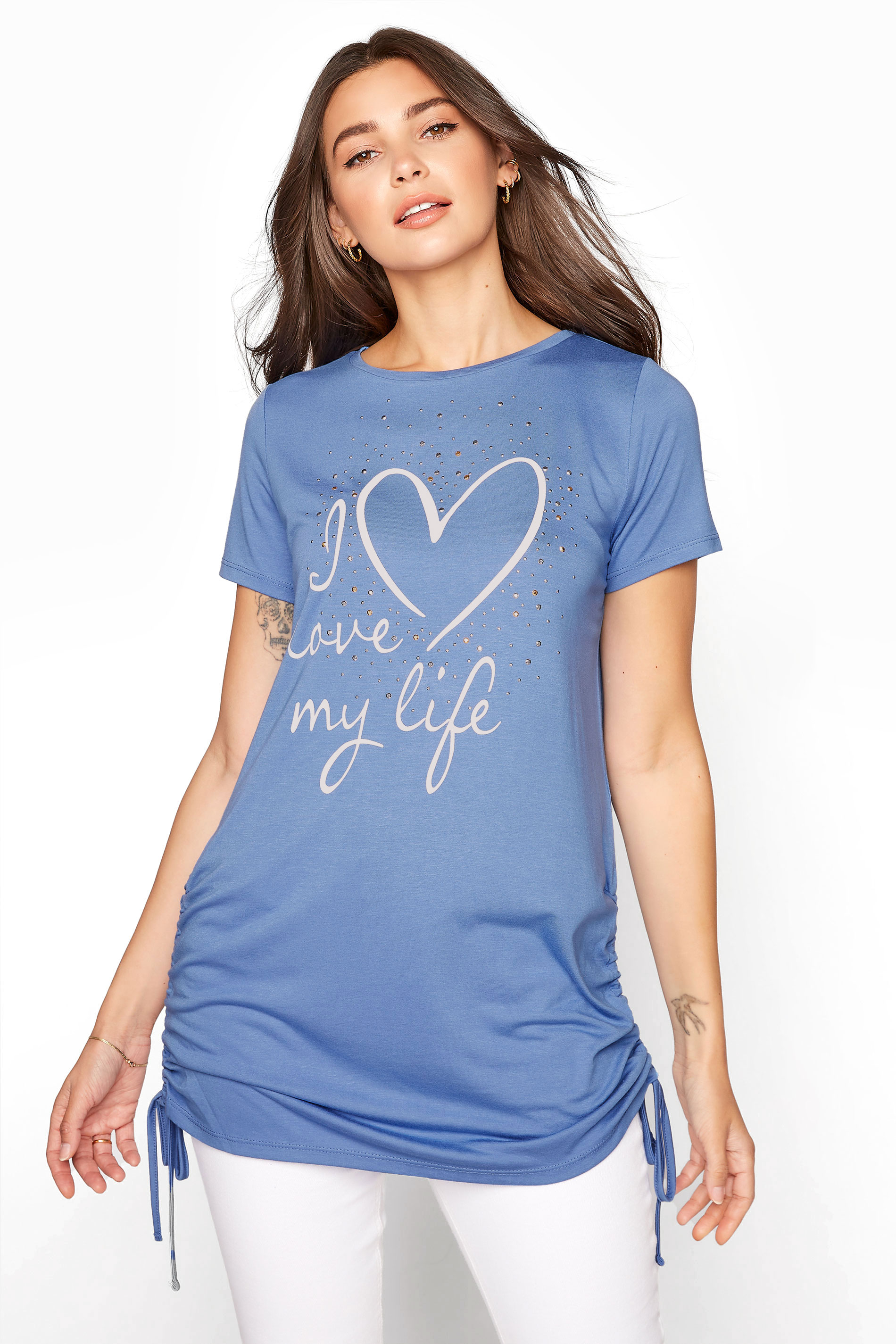 LTS Denim Blue 'I Love My Life' Ruched Side Tunic