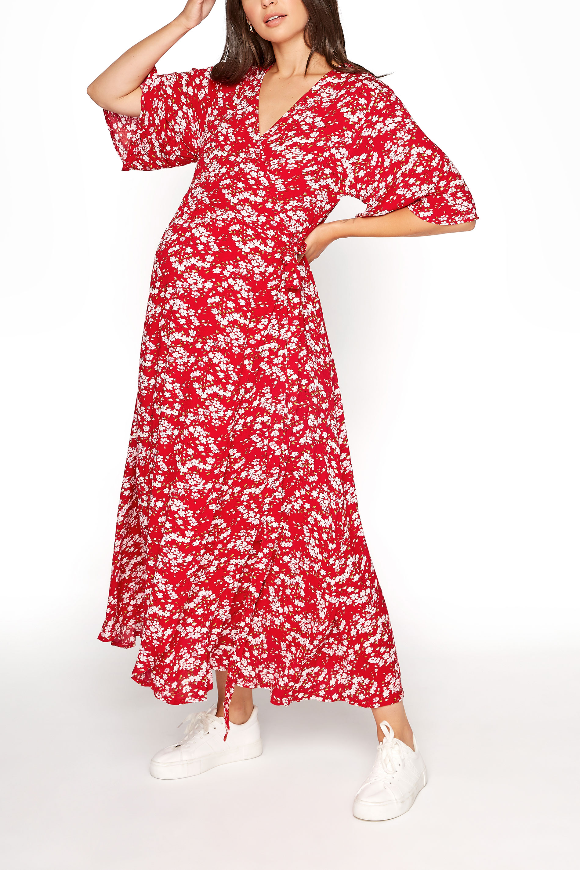 LTS Maternity Red & Pink Floral Wrap Dress_A.jpg