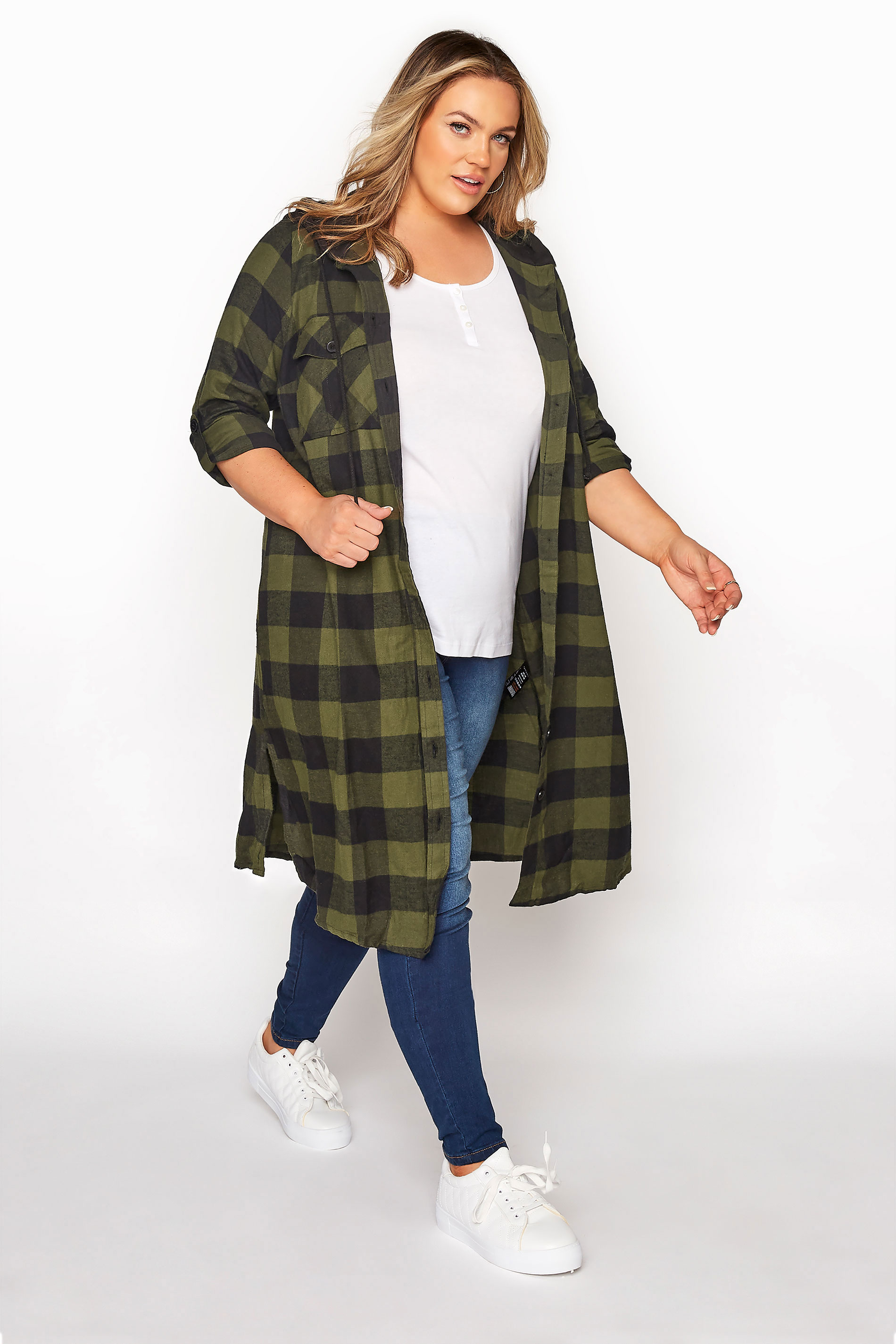 Khaki Checked Hooded Longline Shirt_A.jpg