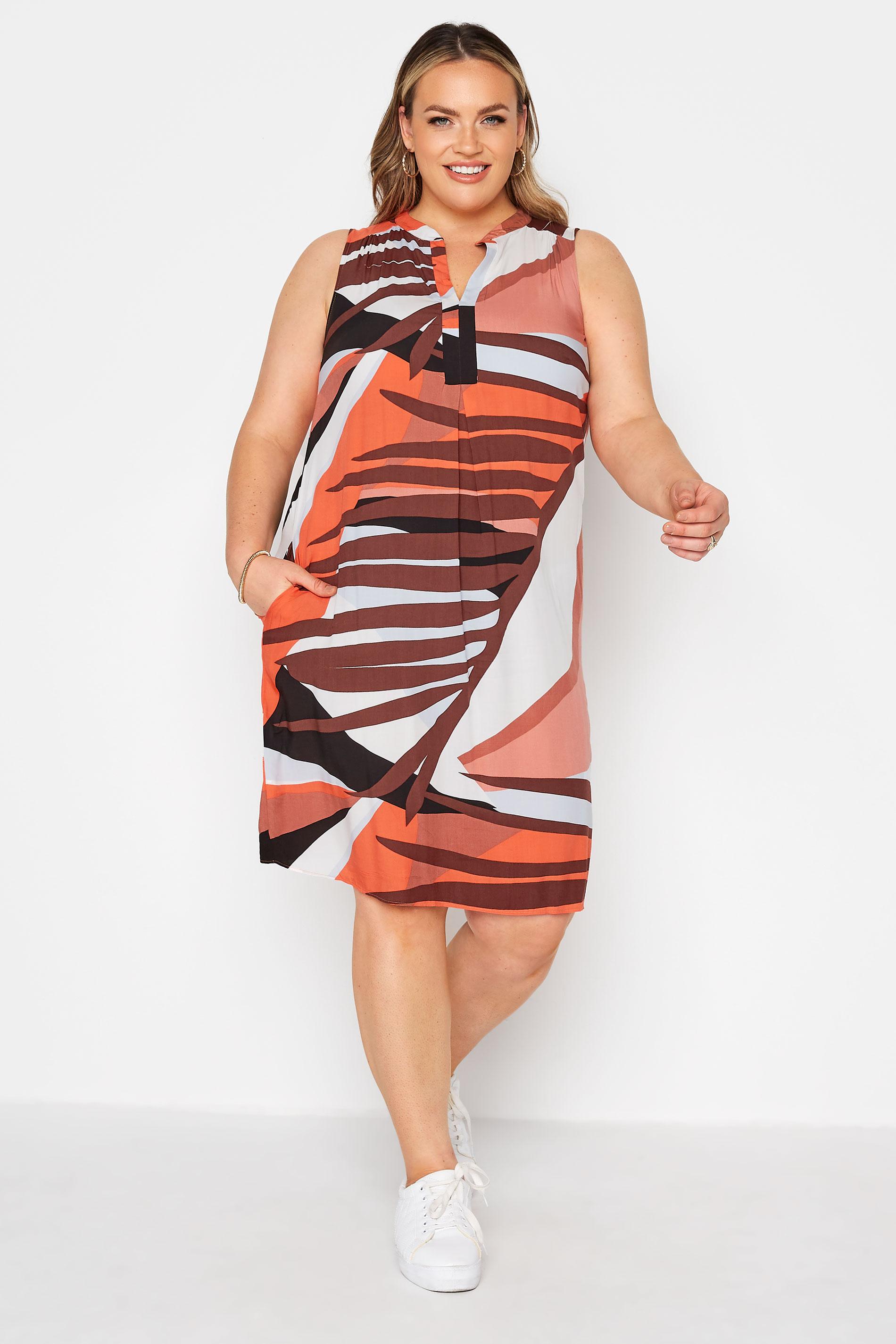 Rust Orange Abstract Midi Dress_A.jpg