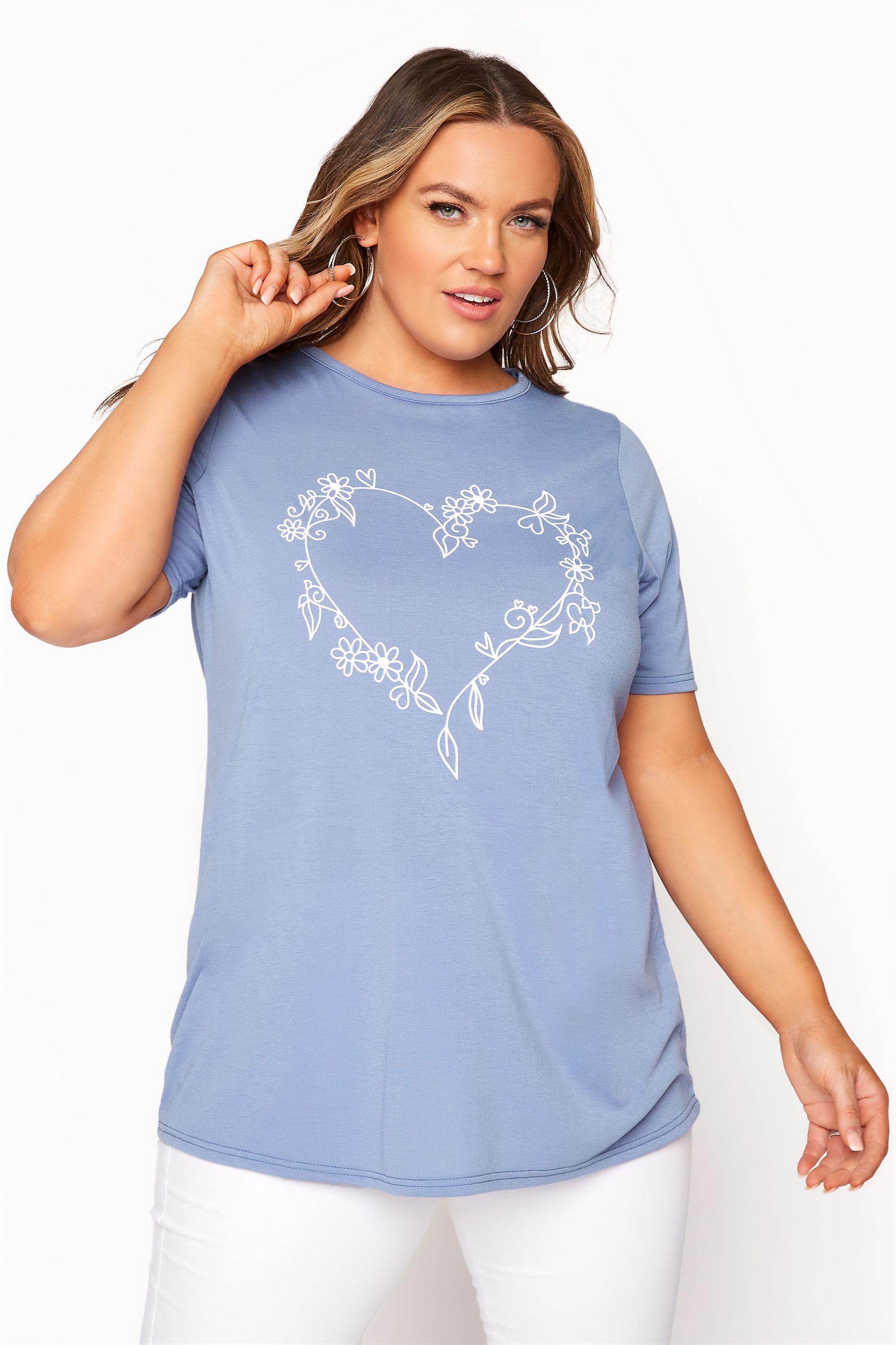LIMITED COLLECTION Dusky Blue Heart Print T-Shirt_A.jpg
