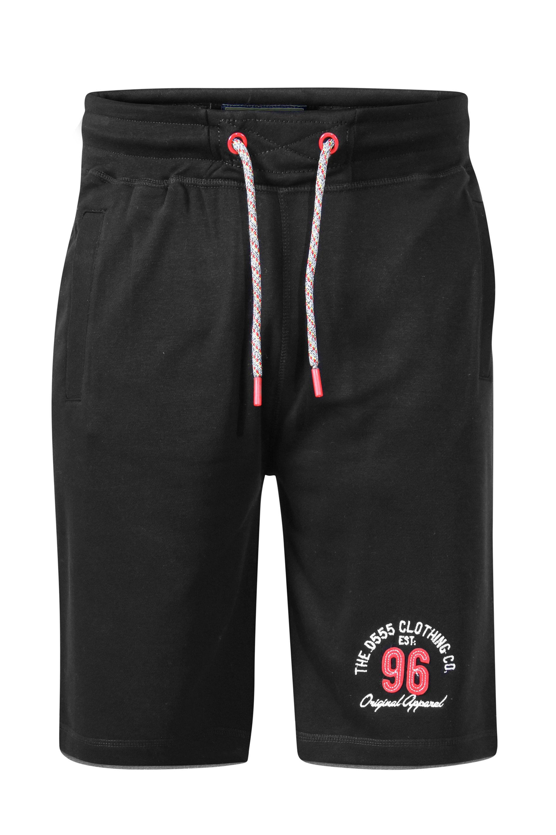 D555 Black Elasticated Waist Shorts