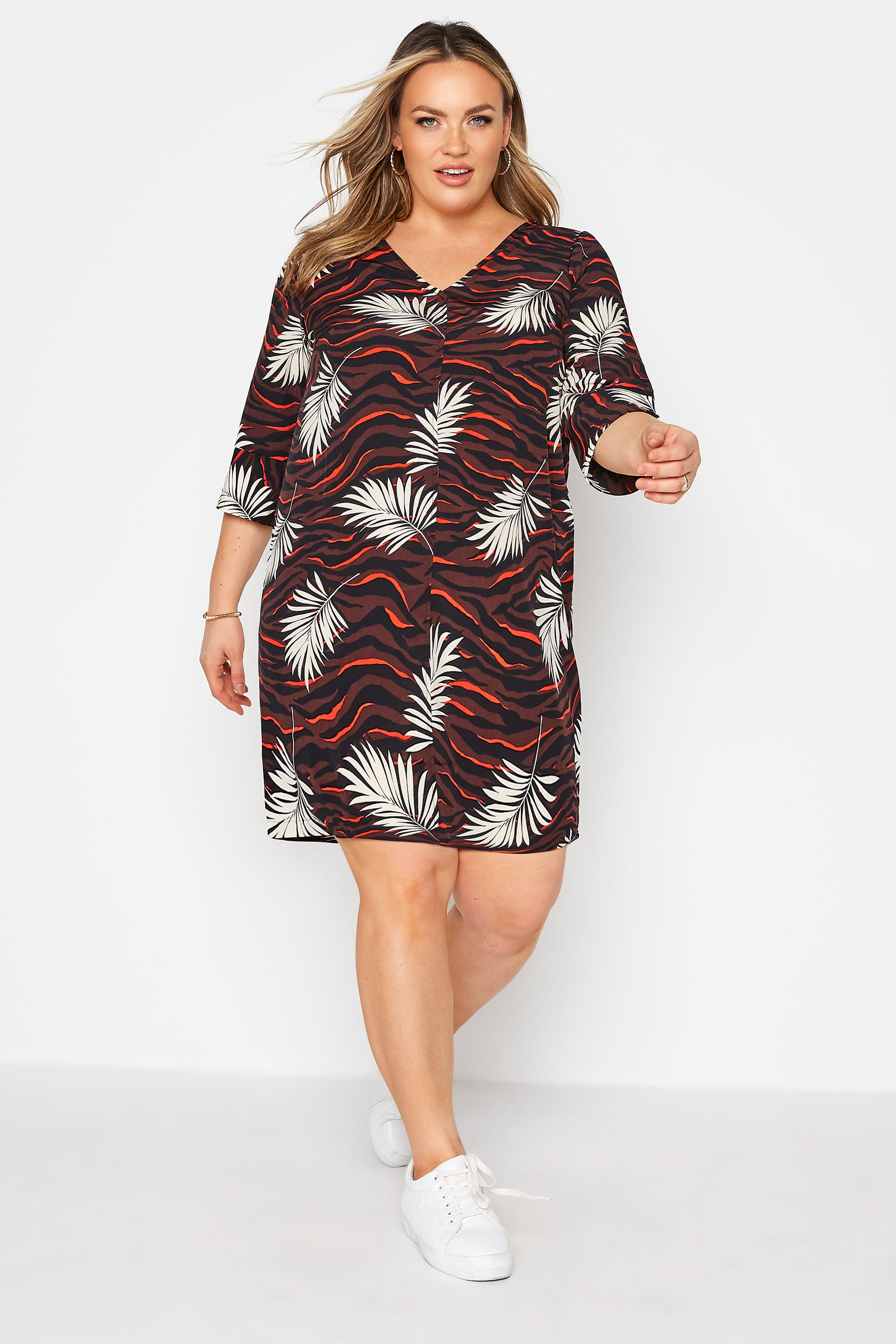 Brown Tropical V-Neck Shift Dress_A.jpg