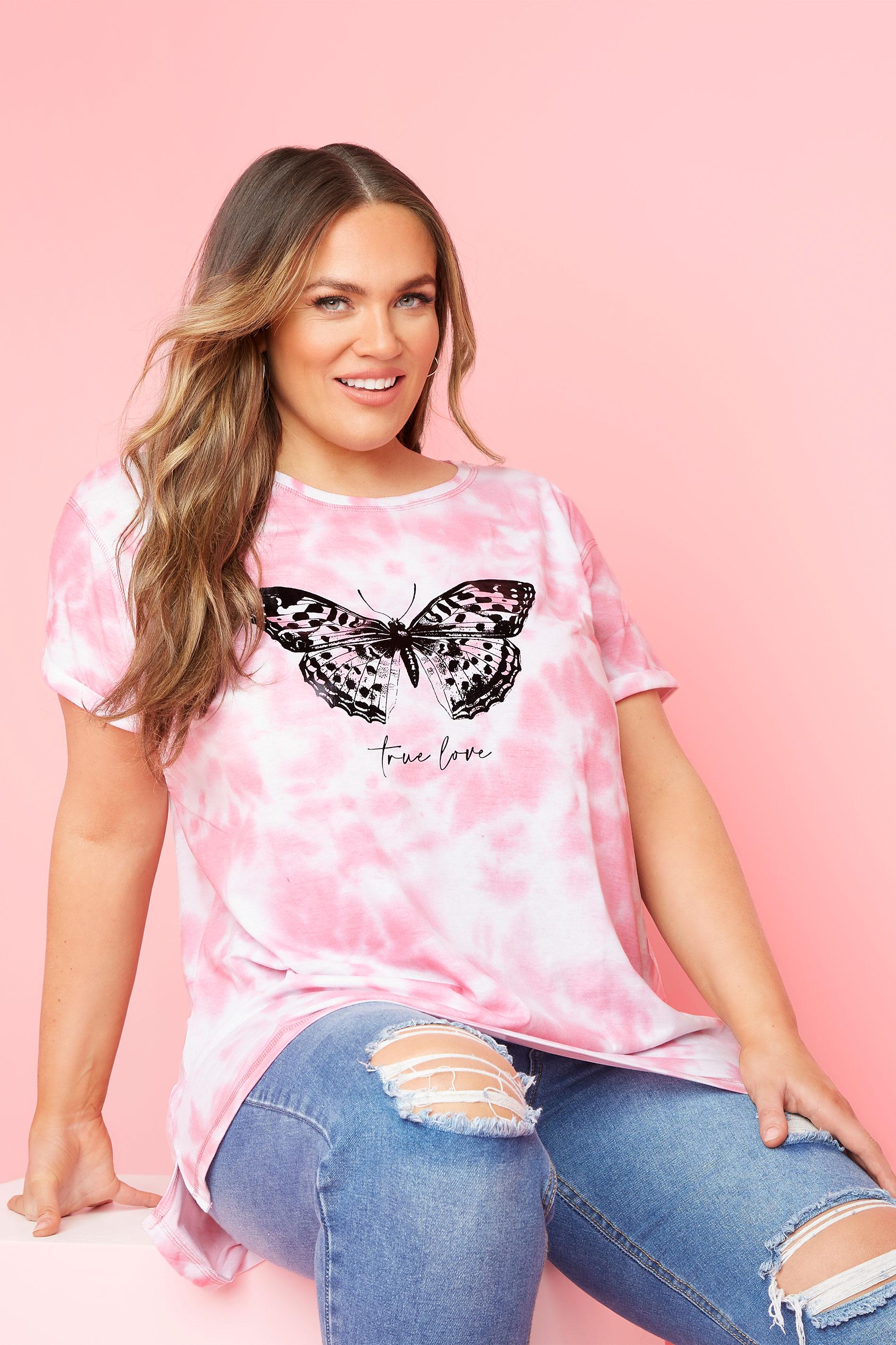 Pink Tie Dye Butterfly T-Shirt