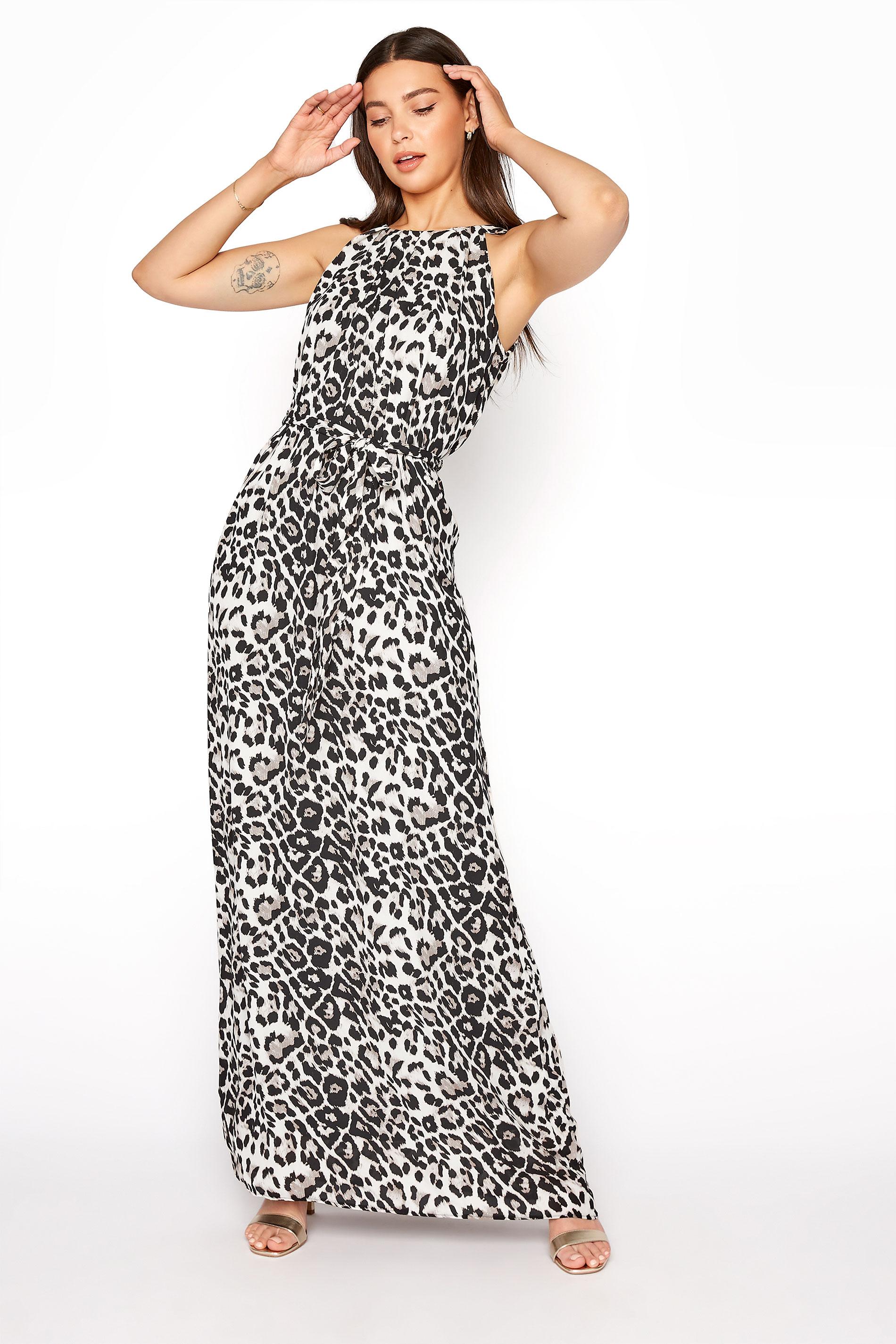 LTS Multi Leopard Print Halter Neck Maxi Dress