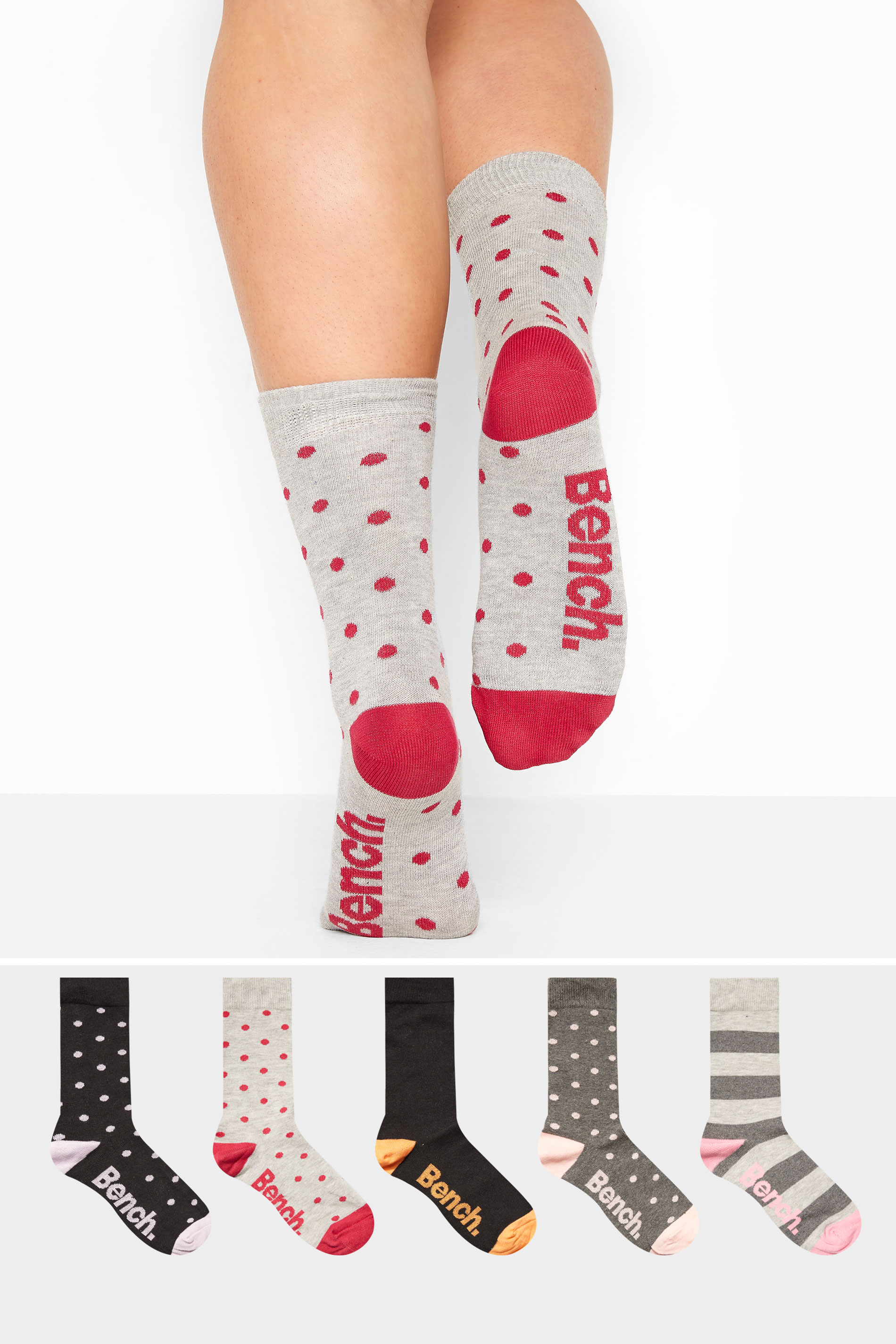 BENCH 5 Pack Multi Patterned Crew Socks