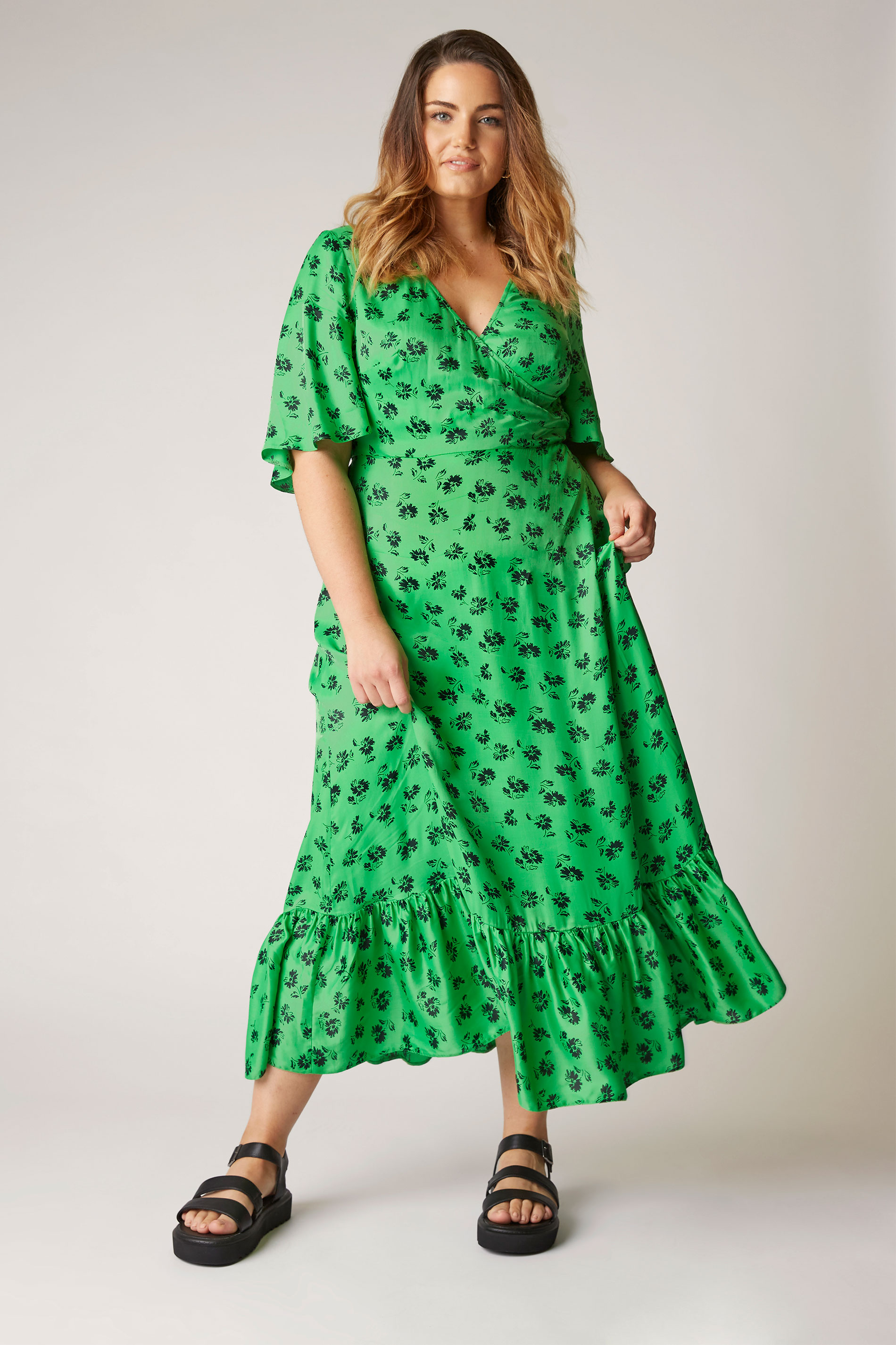 THE LIMITED EDIT Green Floral Ruffled Wrap Maxi Dress_A.jpg