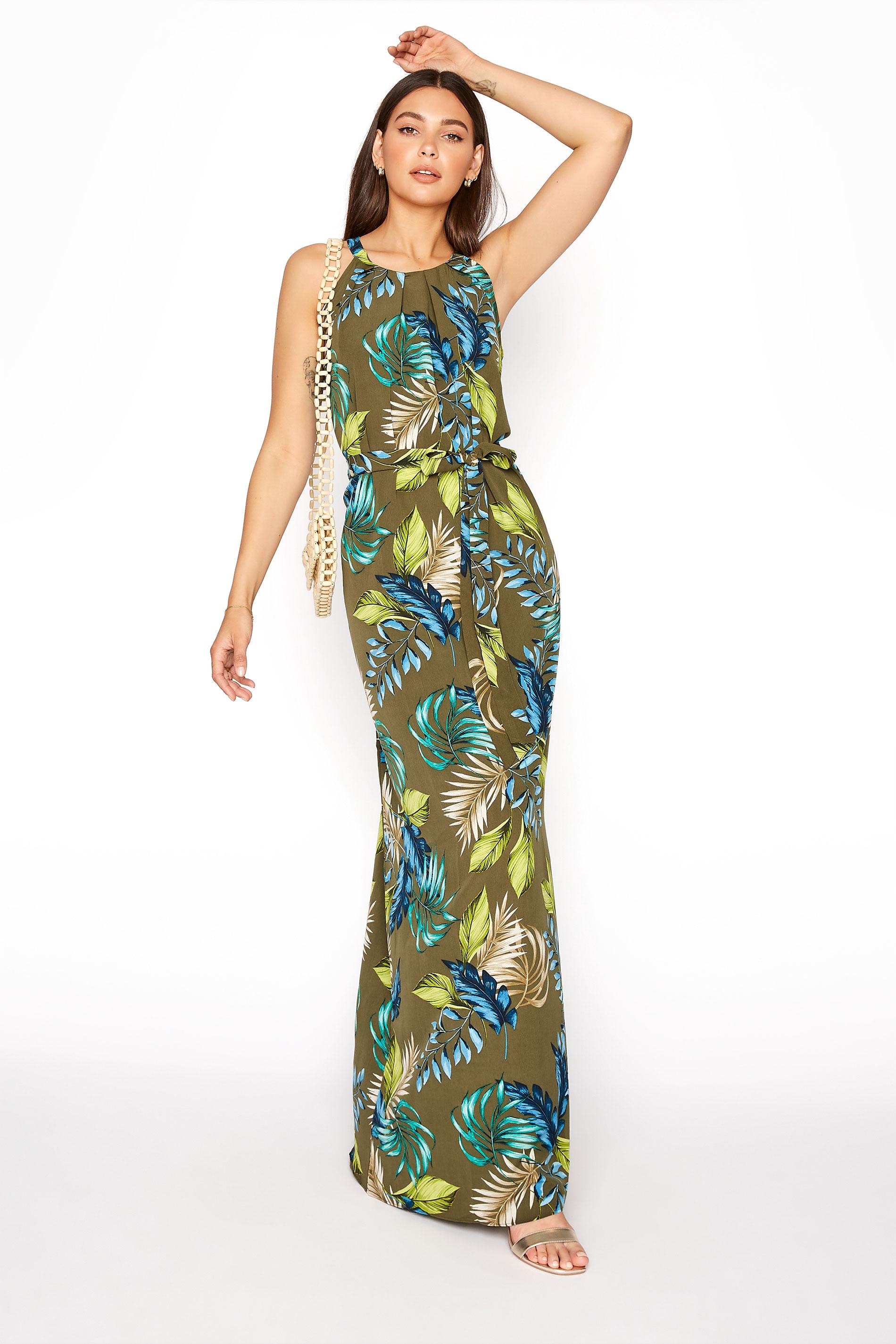 Khaki Leaf Print Halterneck Maxi Dress