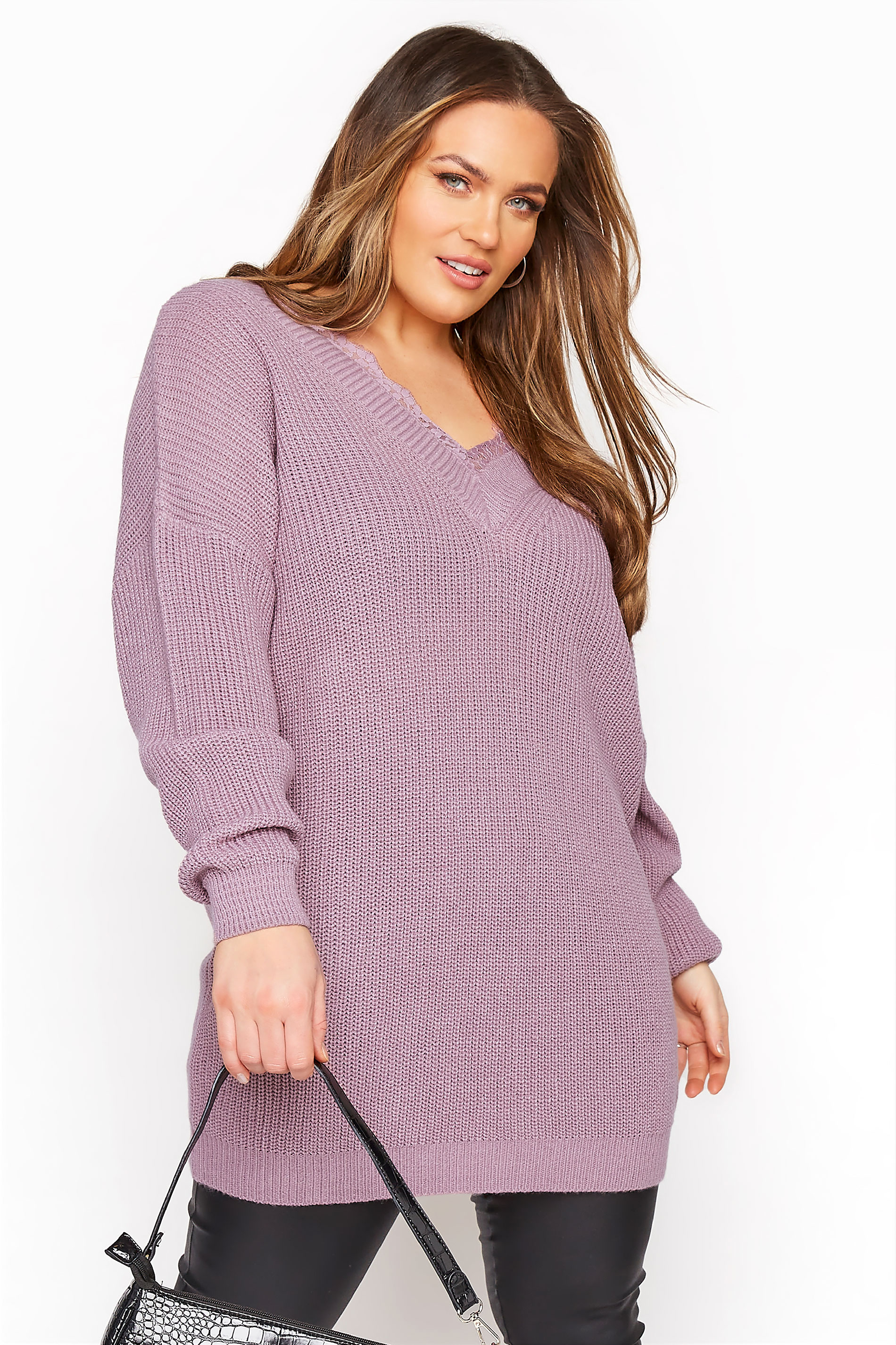 Lilac Lace Oversized Knitted Jumper