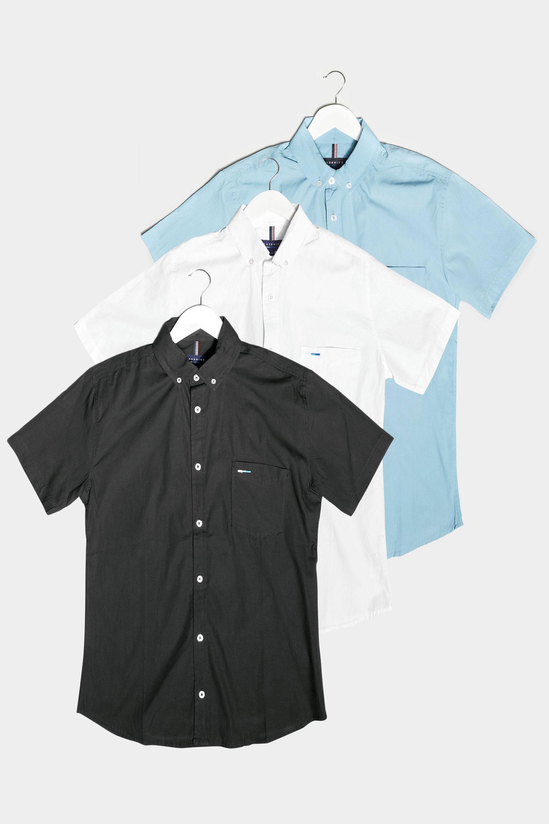 BadRhino Multi 3 Pack Short Sleeve Oxford Shirts