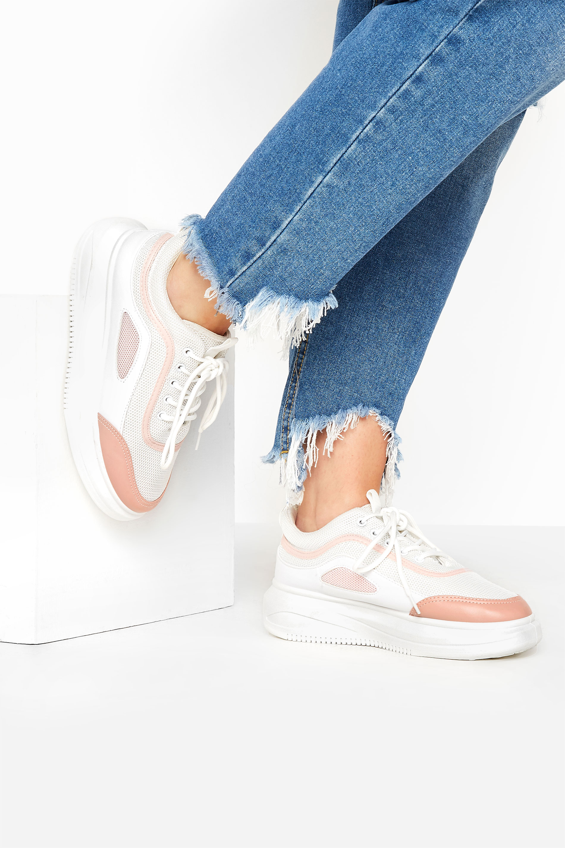 LIMITED COLLECTION White & Pink Platform Sporty Trainers In Regular Fit