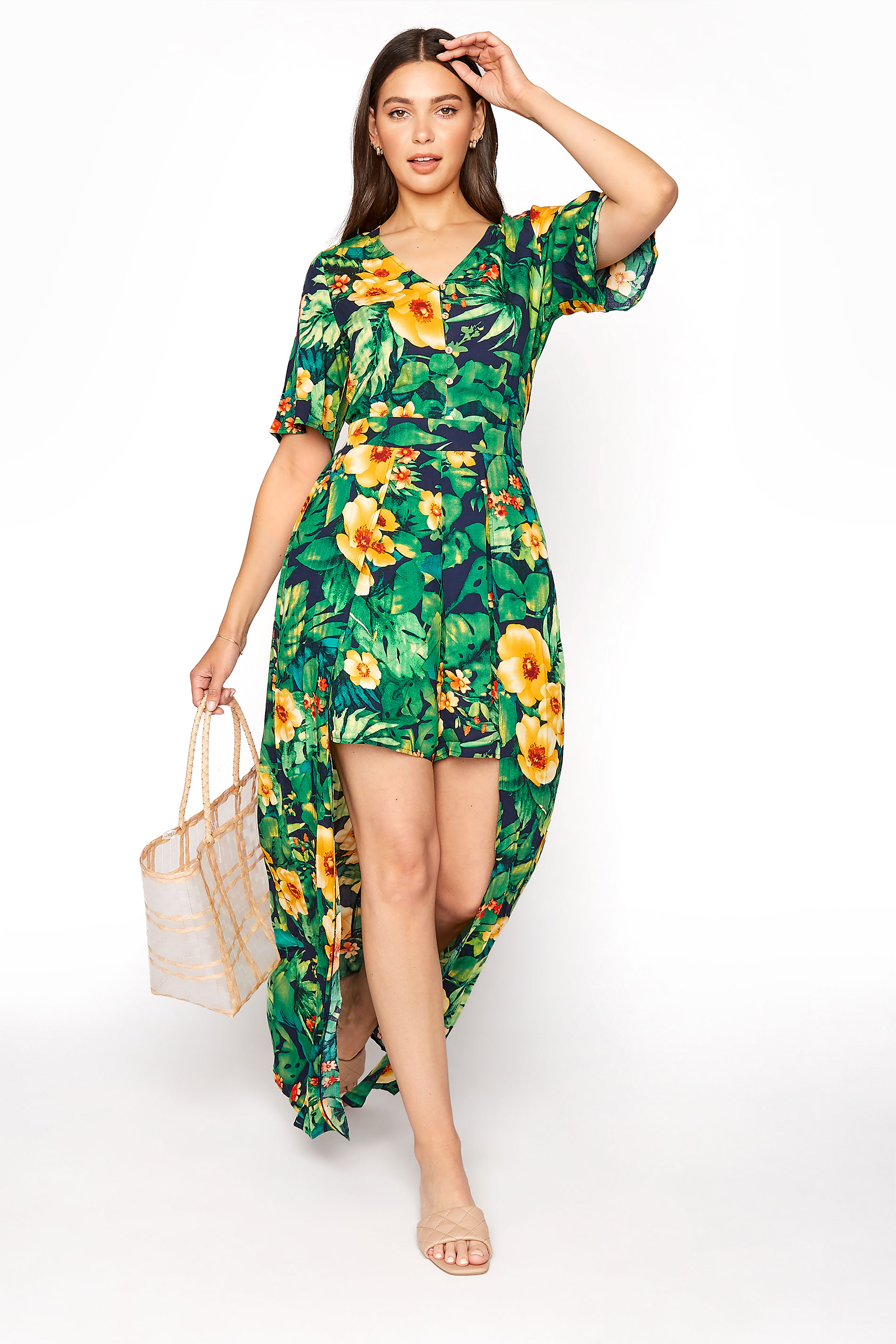 LTS Green Tropical Maxi Overlay Playsuit