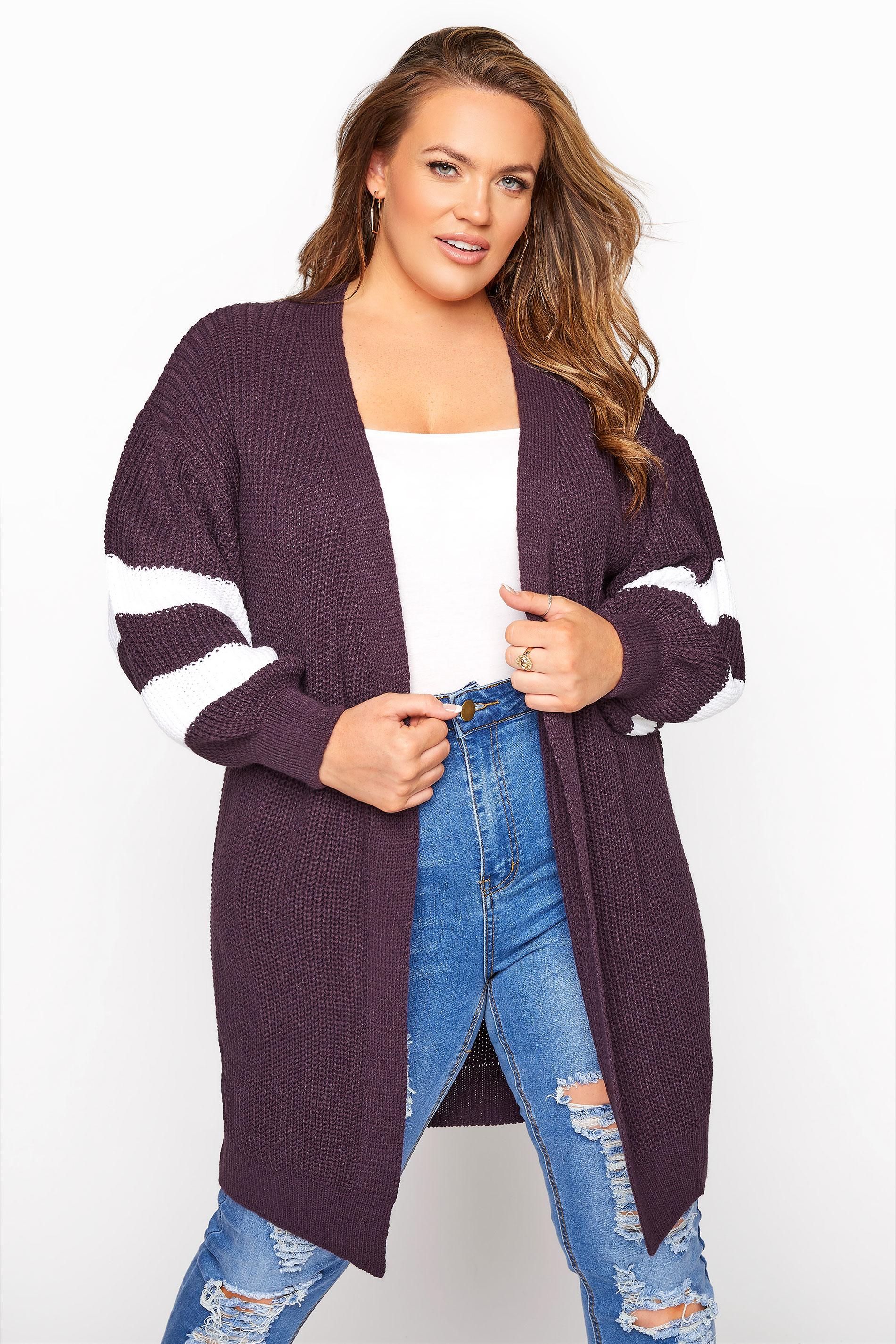 Purple Varsity Stripes Knitted Cardigan_A.jpg