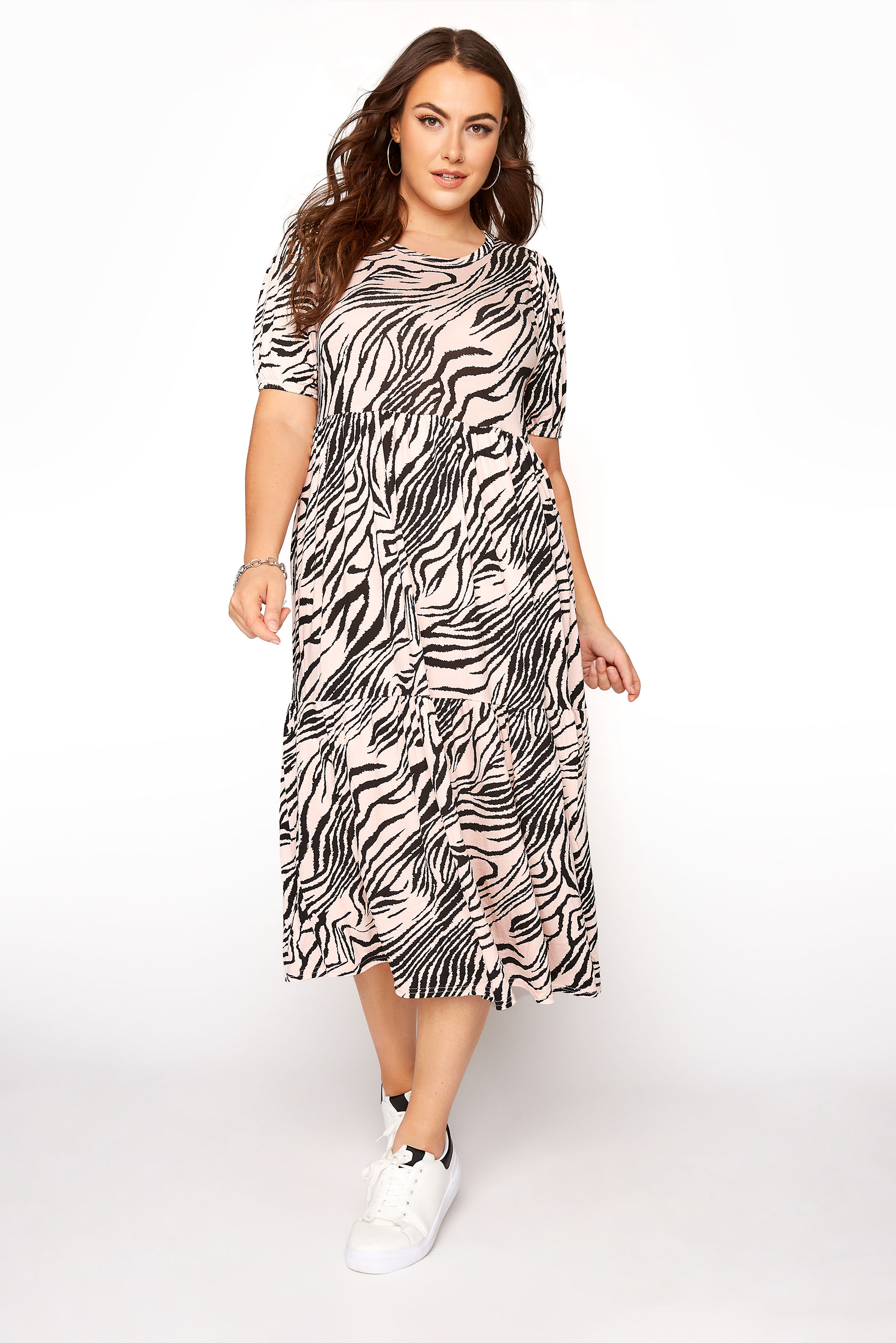 Pink Zebra Puff Sleeve Midaxi Dress
