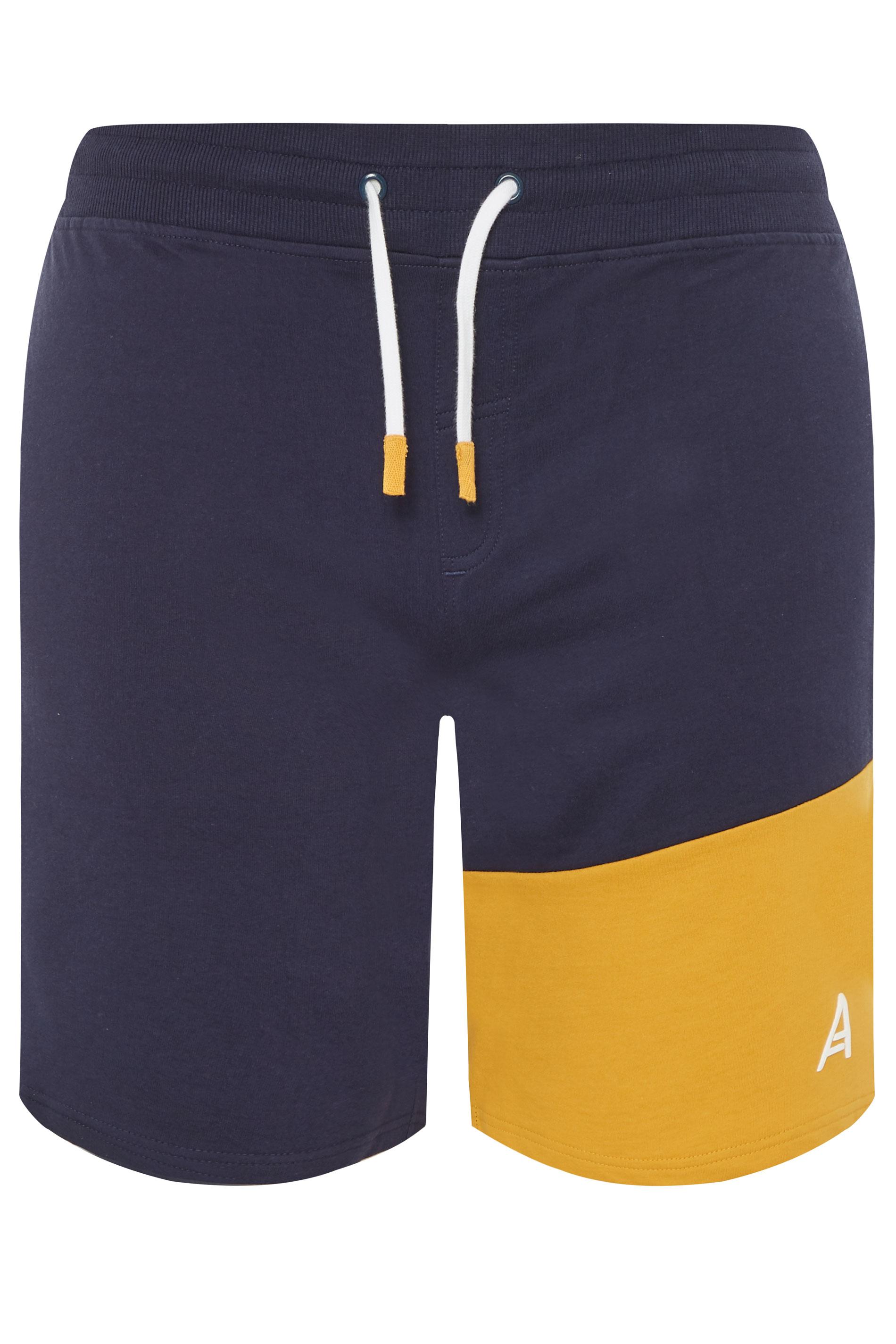 STUDIO A Navy & Yellow Colour Block Shorts