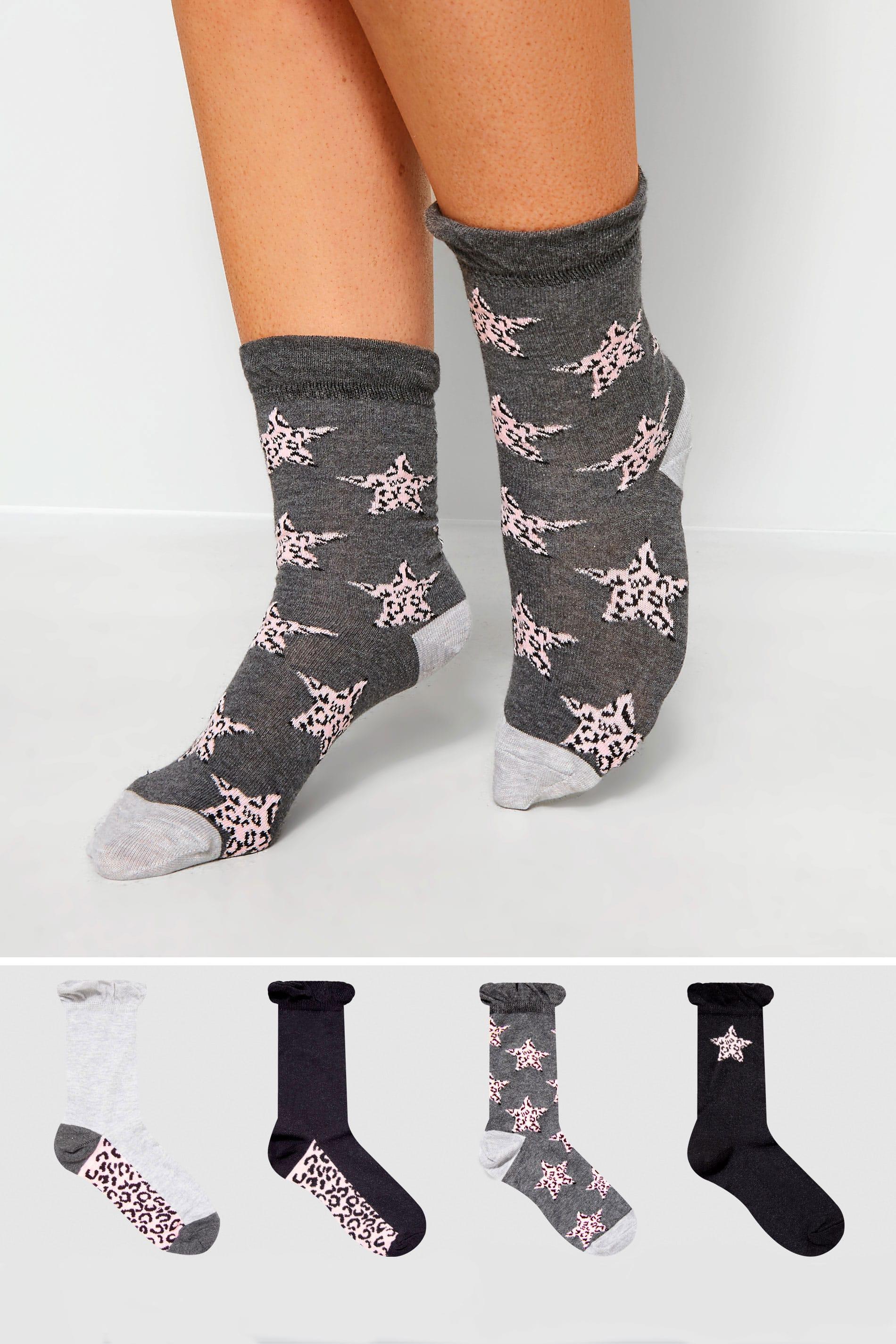 4 PACK Animal Star Socks