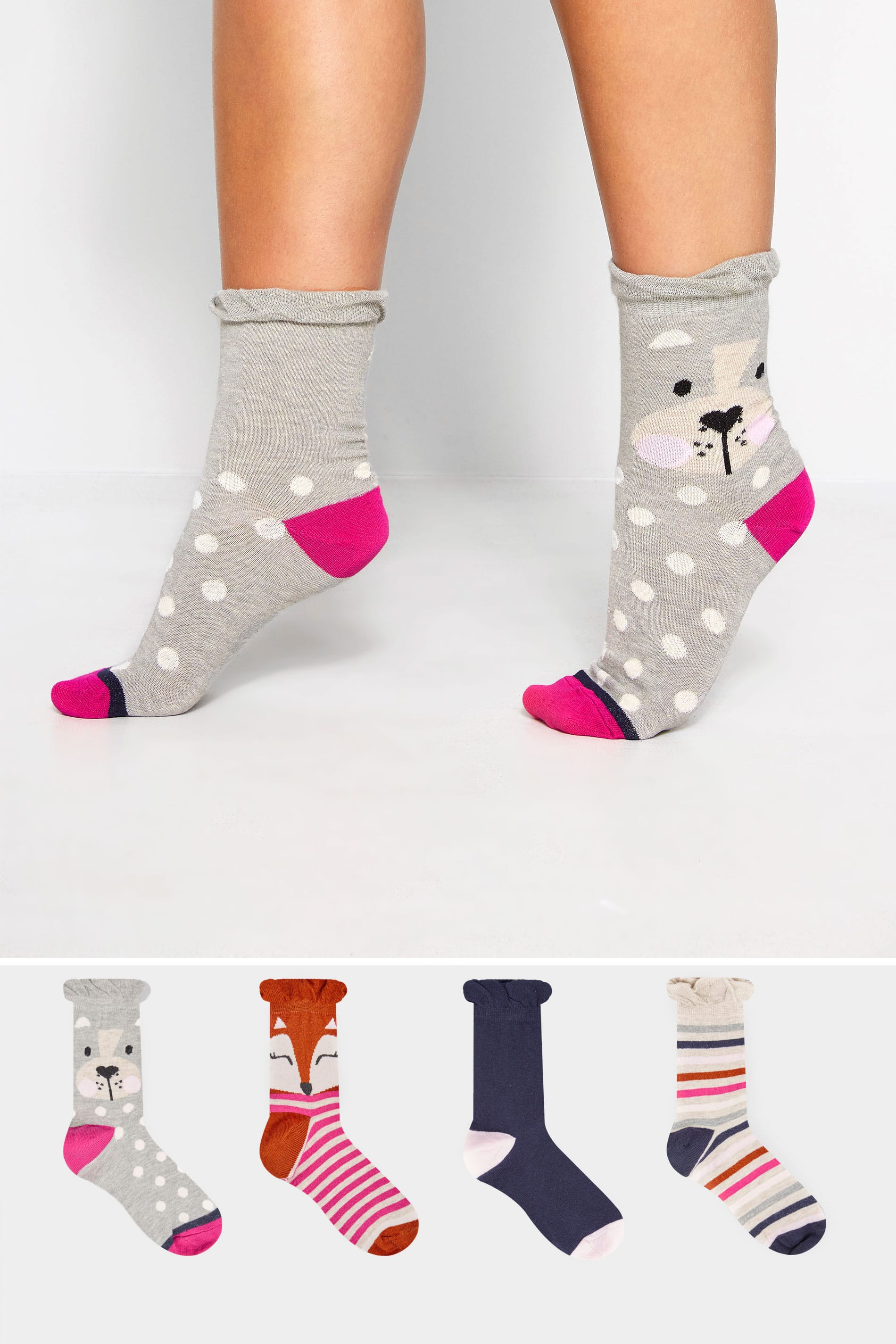 4 PACK Grey, Navy & Pink Cute Animal Socks
