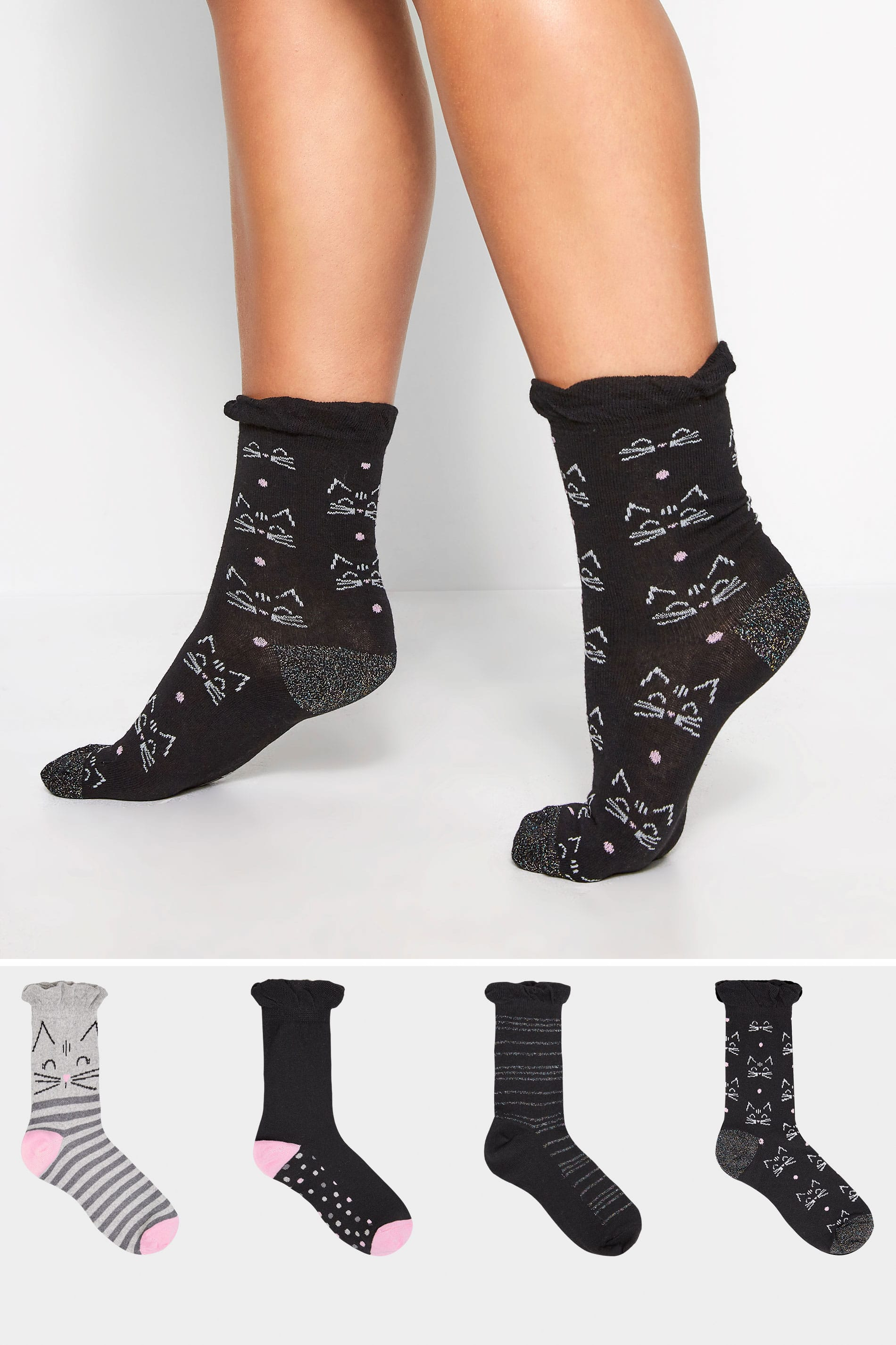 4 PACK Black Glitter Cat Socks