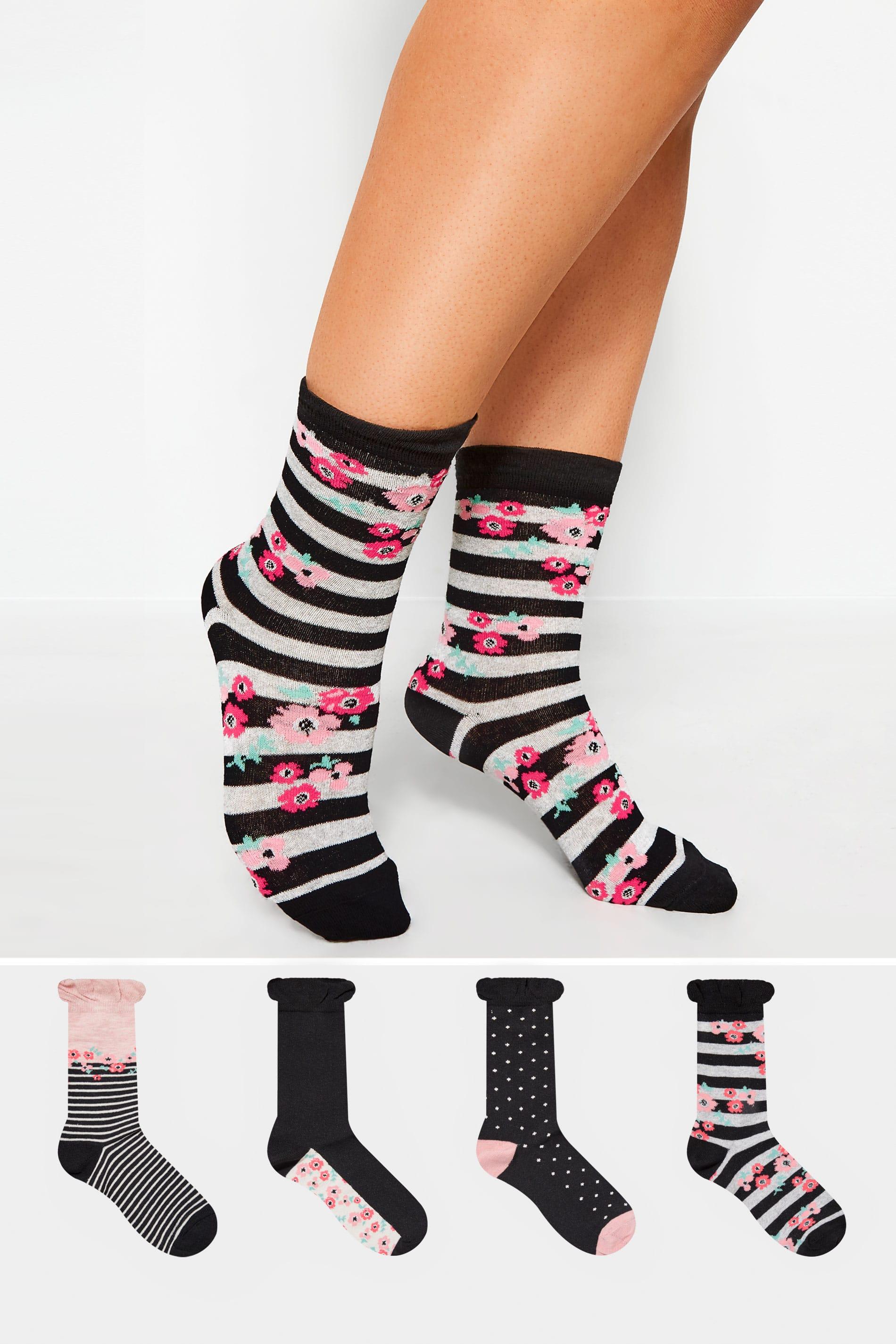 4 PACK Black Floral Stripe Socks