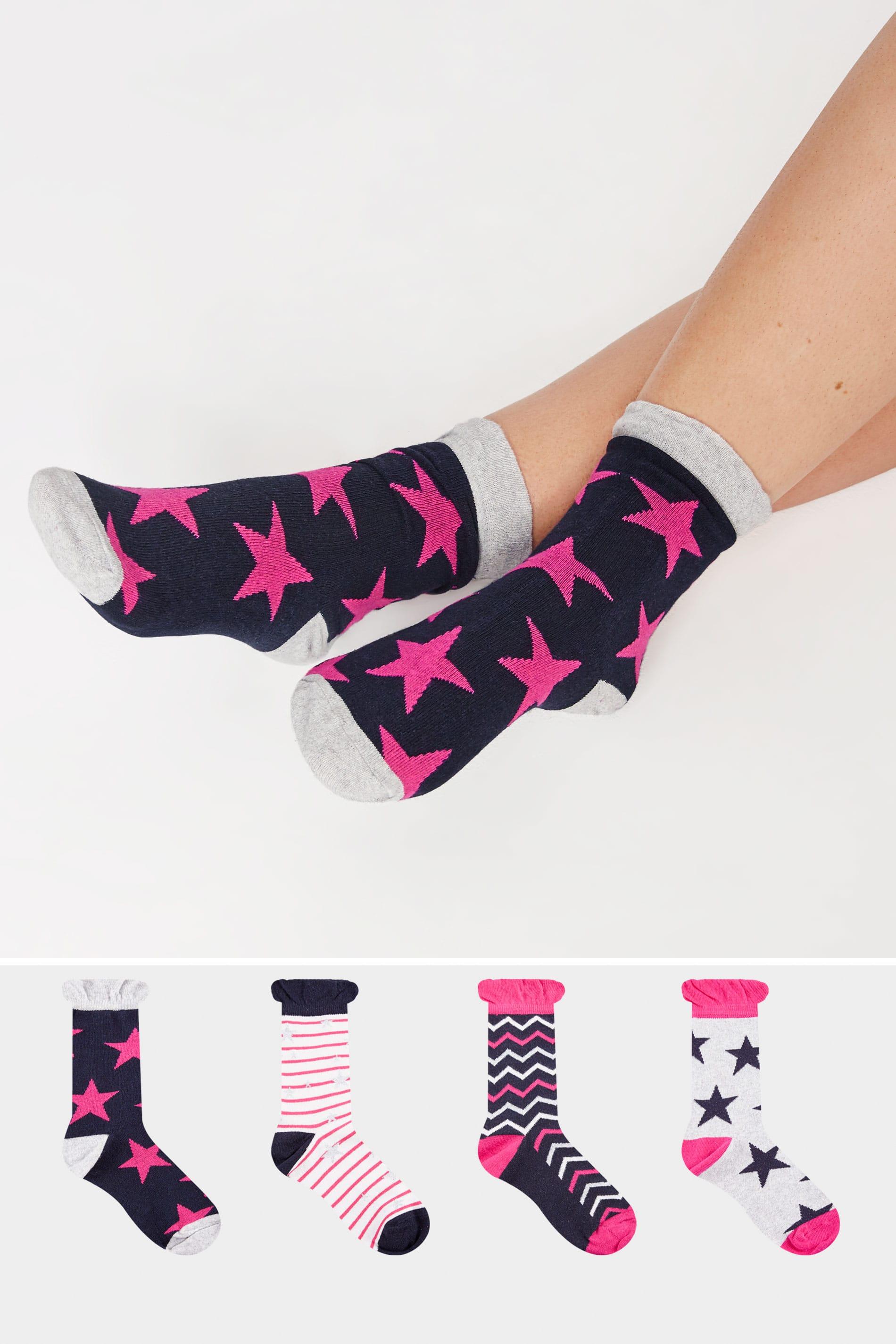 4 PACK Navy Striped & Star Print Ankle Socks