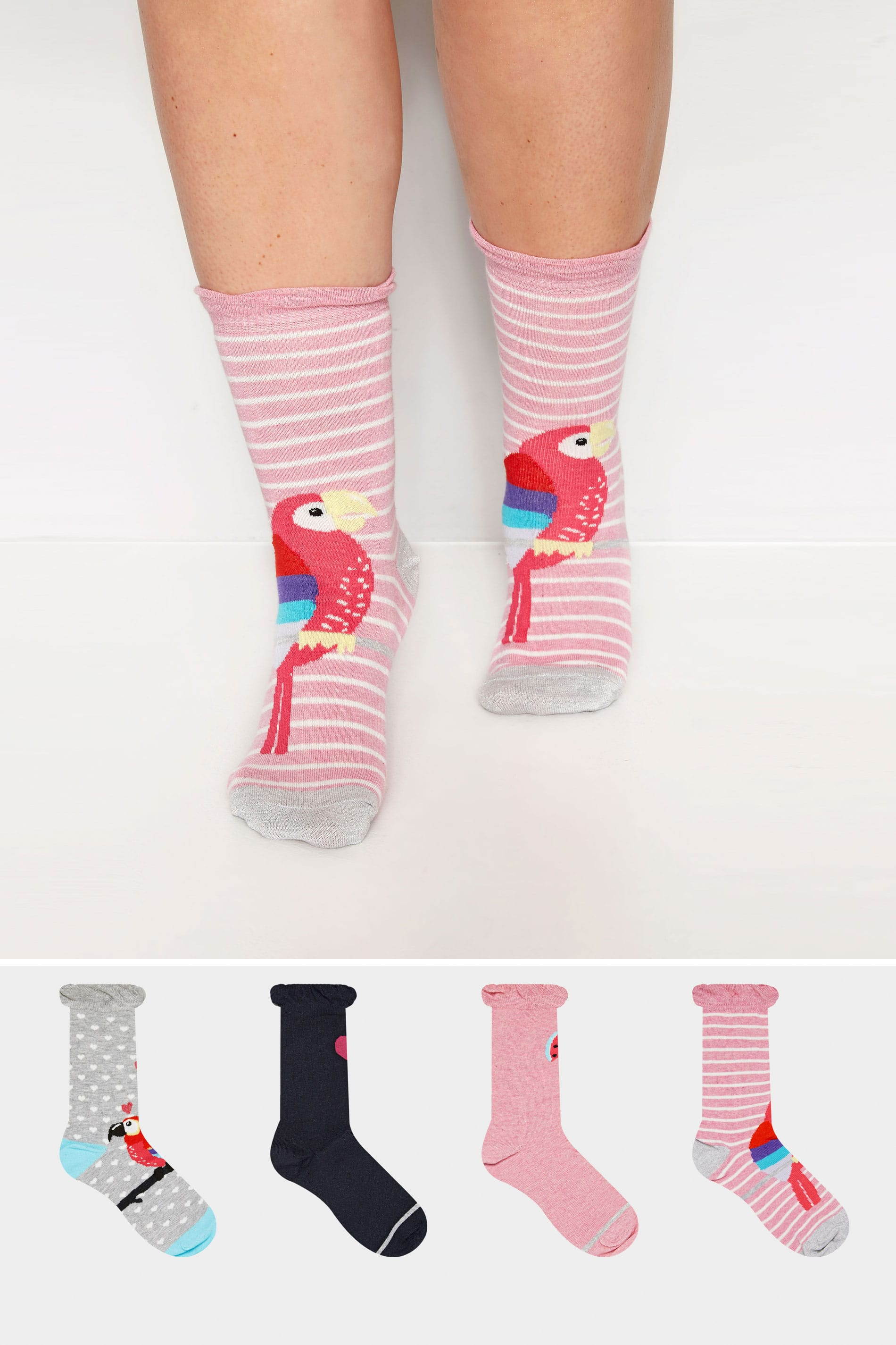 4 PACK Parrot Ankle Socks