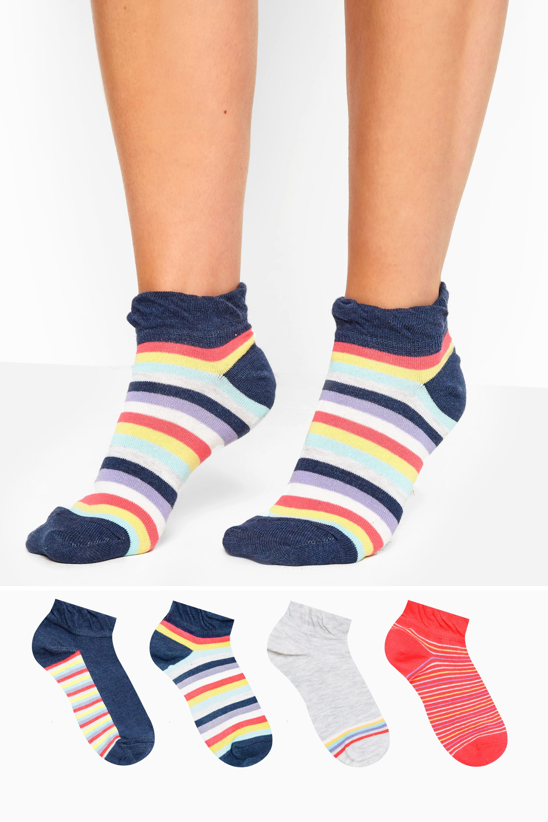 4 PACK Multi Rainbow Trainer Socks