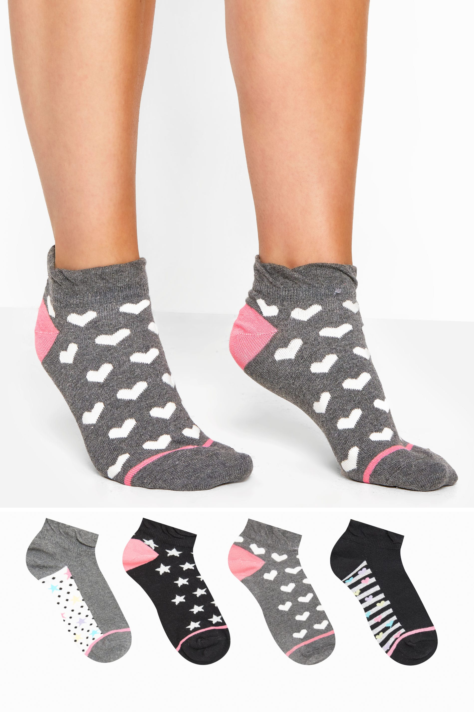 4 PACK Grey Hearts & Stars Trainer Socks
