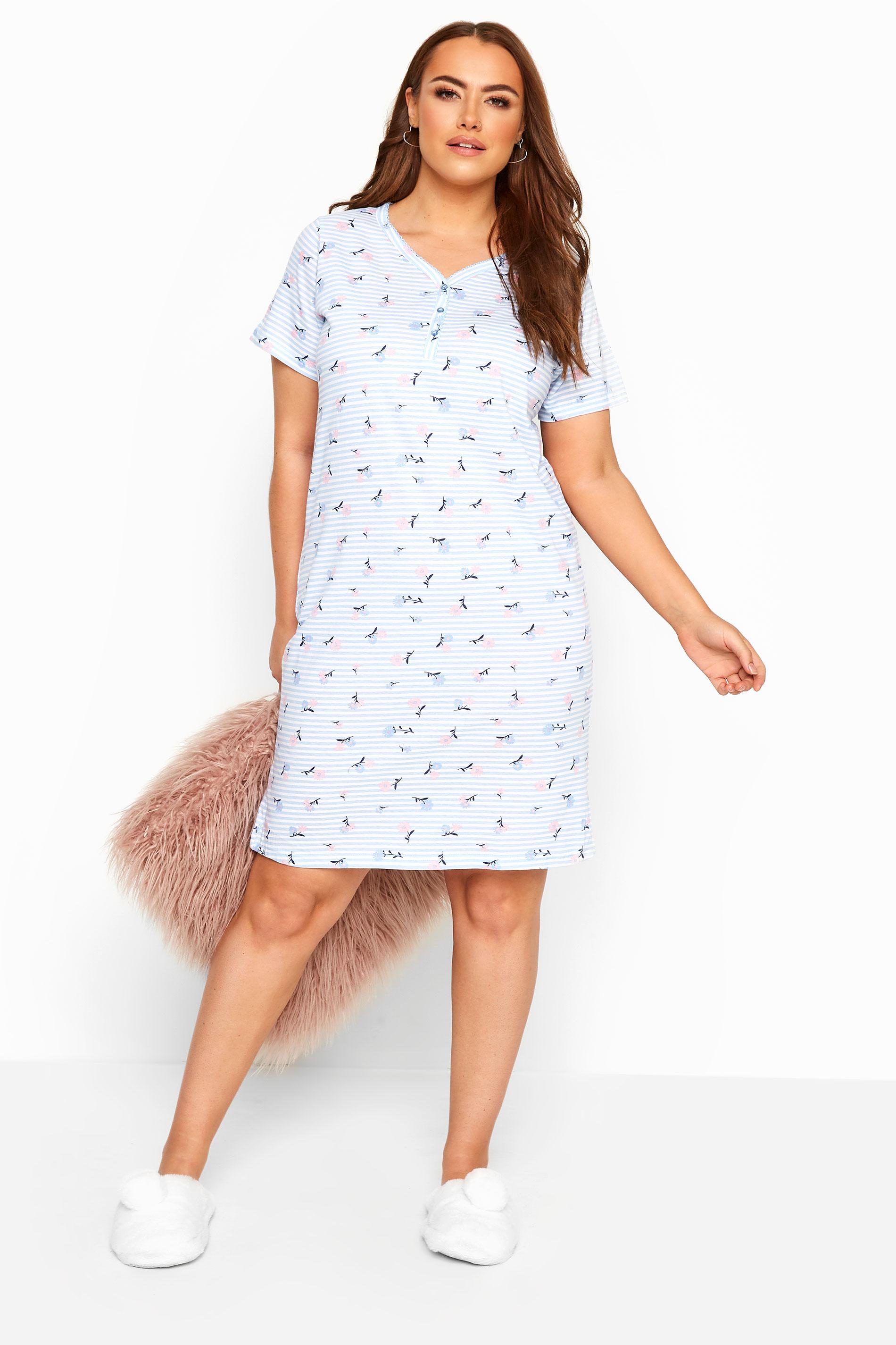 Blue Ditsy Floral Stripe Nightdress